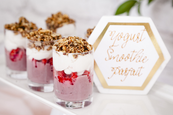 These yogurt Smoothie Parfaits are perfect for a Baby Sip and See party. As styled by Mint Event Design for Bento Picnic www.minteventdesign.com
