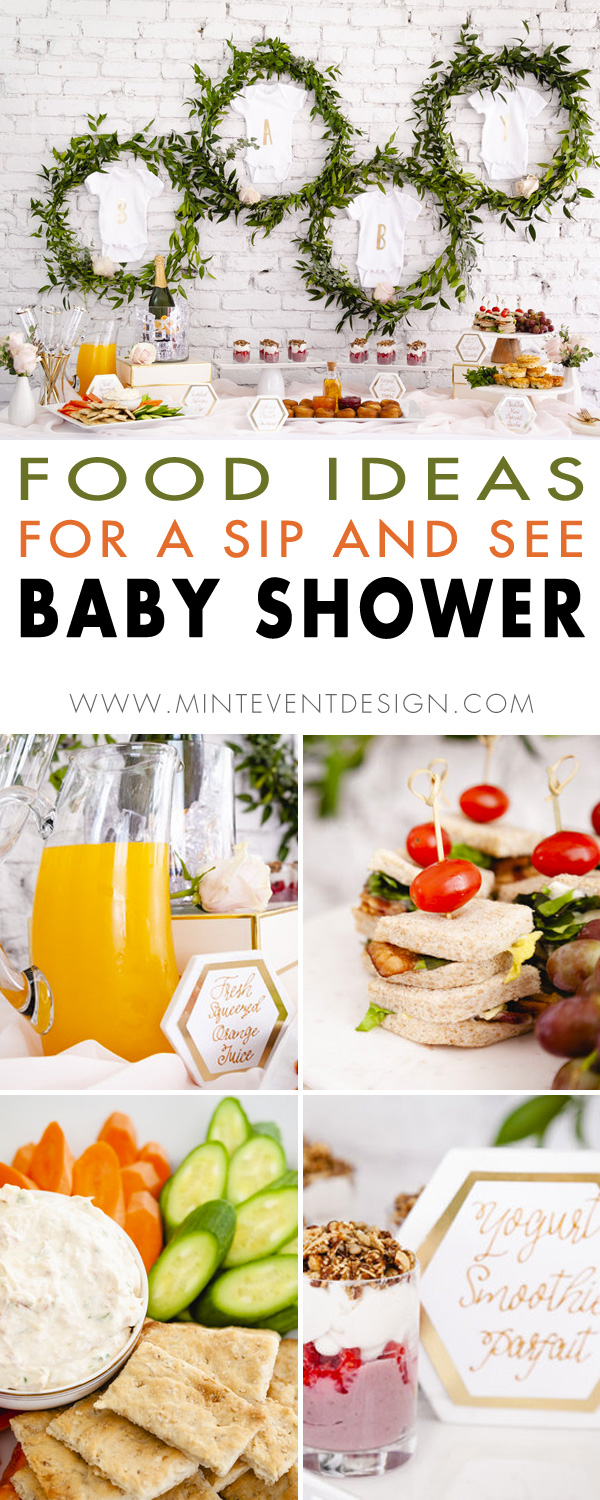 Sharing the cutest food ideas for a sip and see baby shower. Come see how to host a sip and see and even create the most eye-catching DIY party backdrop for the food table with faux greenery and baby onesies. See all the sip and see party details on Mint Event Design www.minteventdesign.com #babyshower #babyshowerideas #sipandsee #babyshowerfood #partyfood #partyfoodideas