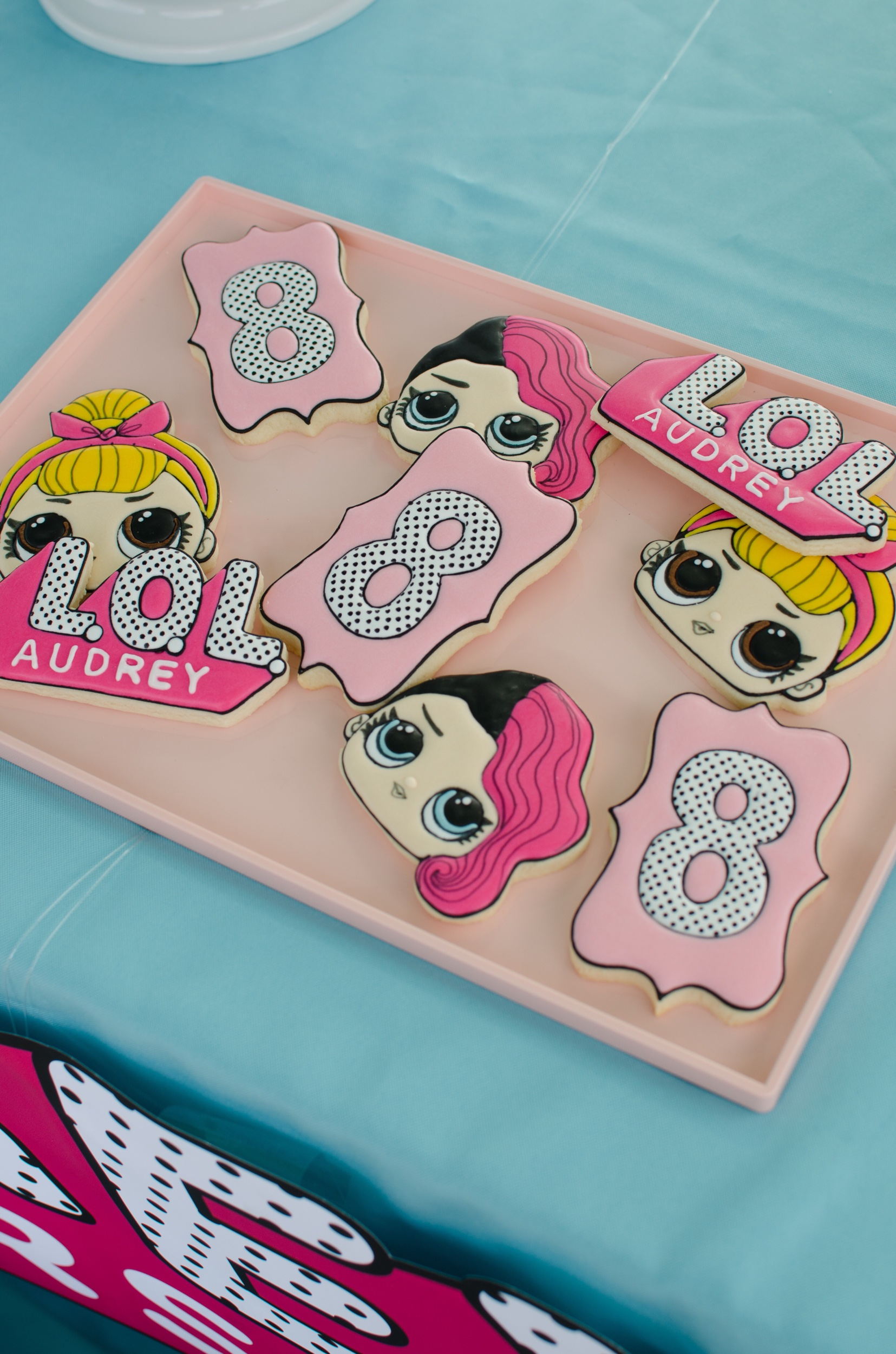 LOL Surprise Birthday Party Sugar Cookies. Party styling by Mint Event Design www.minteventdesign.com