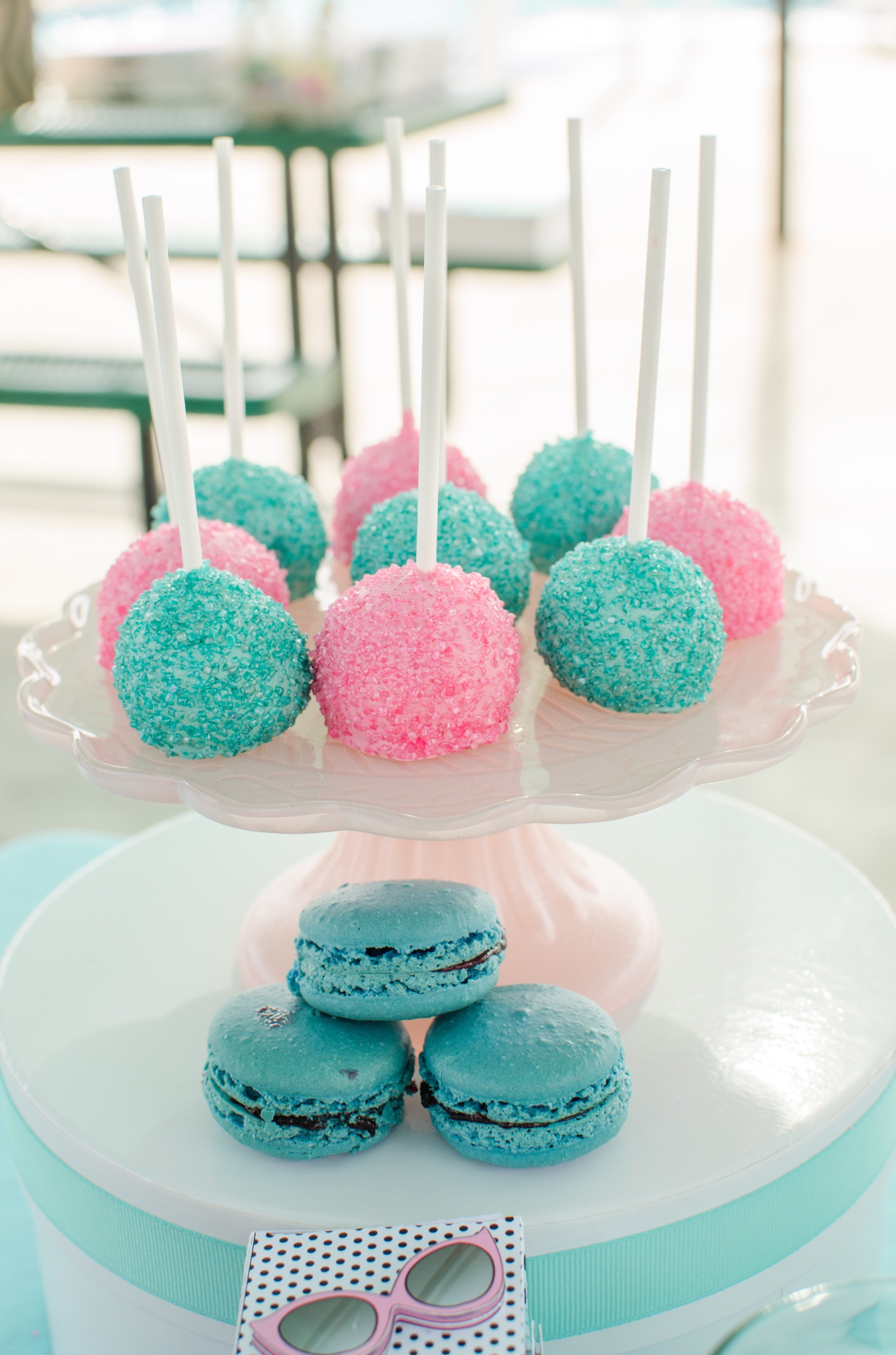 Pink and blue dessert ideas for a girls birthday party. Party styling by Mint Event Design www.minteventdesign.com