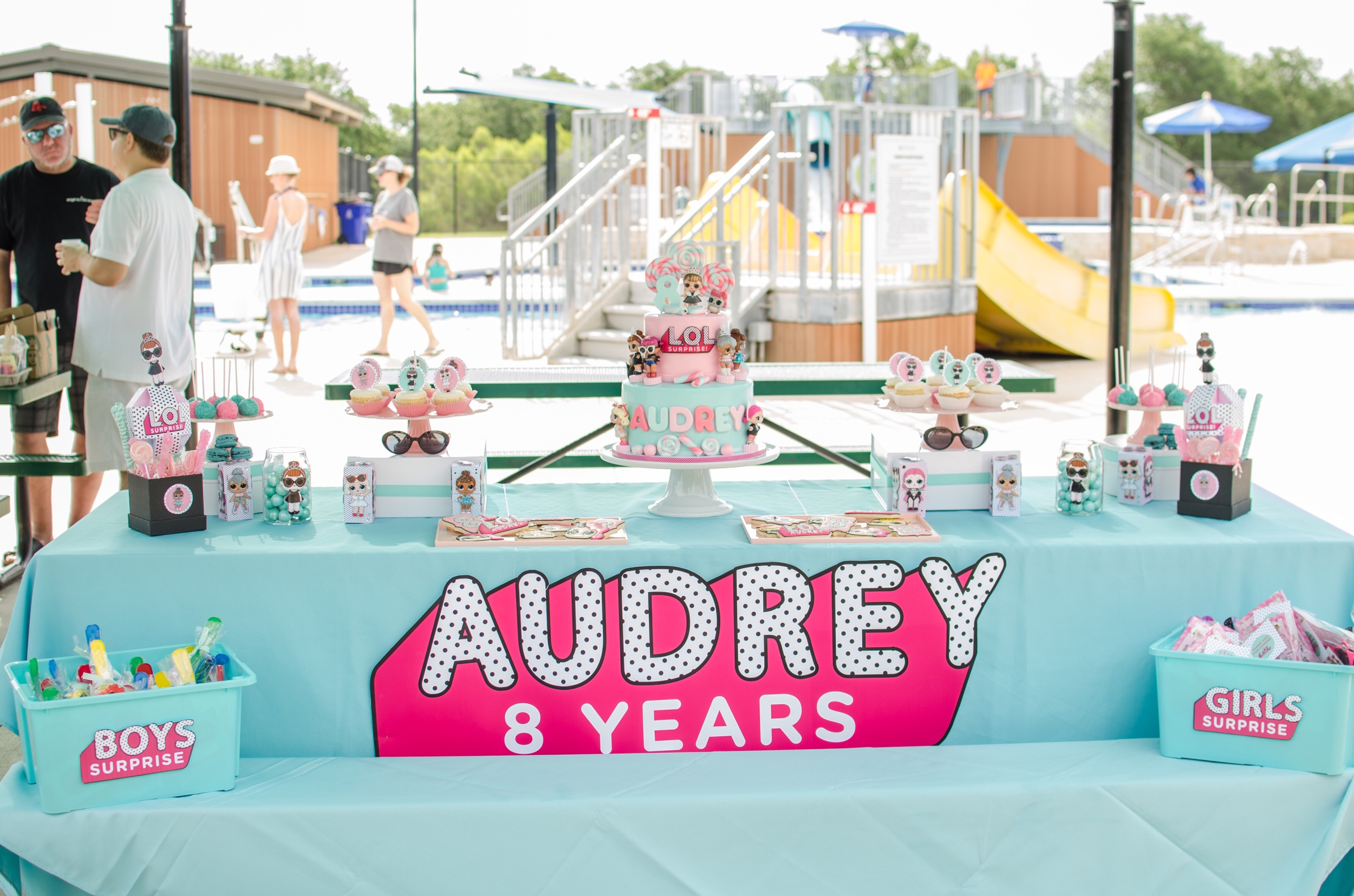 LOL Surprise Inspired Birthday Party for an 8 year old girl - see how to set up the birthday girl party in a park. Party styled by Mint Event Design www.minteventdesign.com