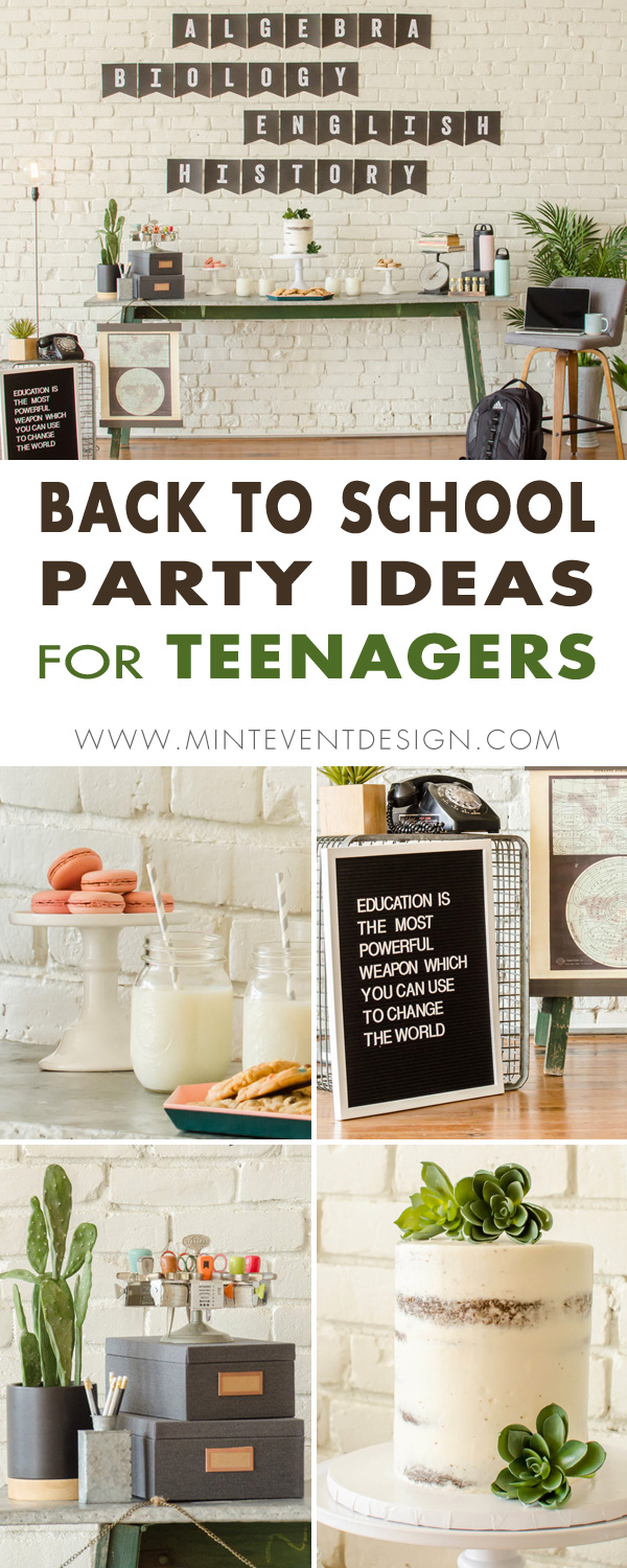 Come see How to Plan a Back to School Party for Teens. The mix of vintage and modern elements combined together to create this Industrial style - perfect for teenagers. Party Styling by Mint Event Design - Austin, Texas party planner www.minteventdesign.com #backtoschool #backtoschoolideas #kidsparty #kidspartyideas #kidsparties #partyideas