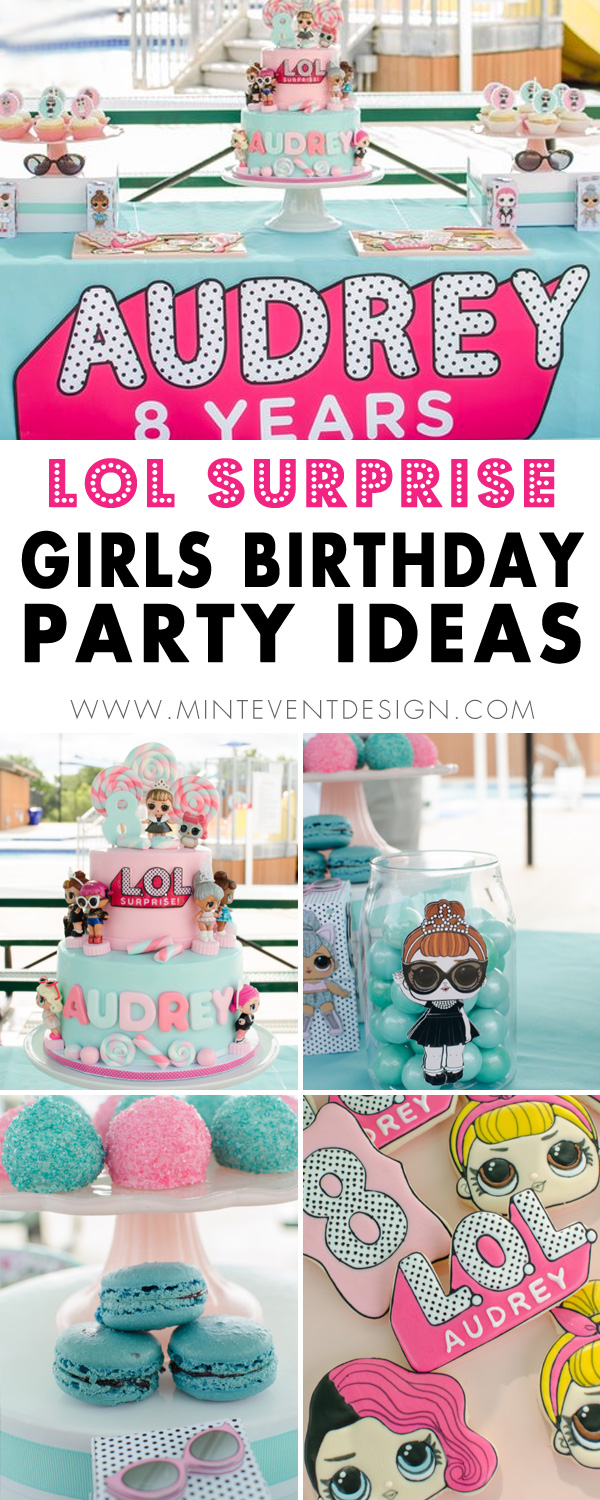 How to plan an LOL Surprise Inspired Birthday Party - complete with the best dessert table and LOL Dolls galore. Can't forget to include the birthday girls name on the LOL Party Sign. Event Styling by Austin Texas based party planner Mint Event Design www.minteventdesign.com #kidsparty #kidspartyideas #birthdaypartyideas #girlbirthdayparty #lolsurprise #lolsurprisedolls #lolsurpriseparty