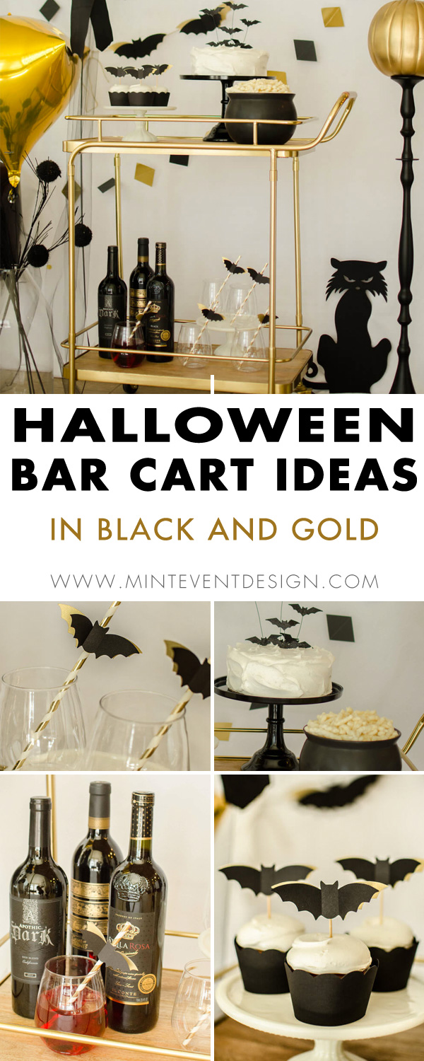 Halloween bar cart styling ideas with Bats and Gold Pumpkins. Find out how to style a Halloween bar cart for your adult parties that keeps the decor classy by using the luxe color scheme of black, white, and gold. Styled by party stylist Carolina of Mint Event Design in Austin Texas www.minteventdesign.com #halloweendecorations #halloweendecor #barcart #barcartdecor #barcartdecorating #barcartdecorinspiration #barcartstyling