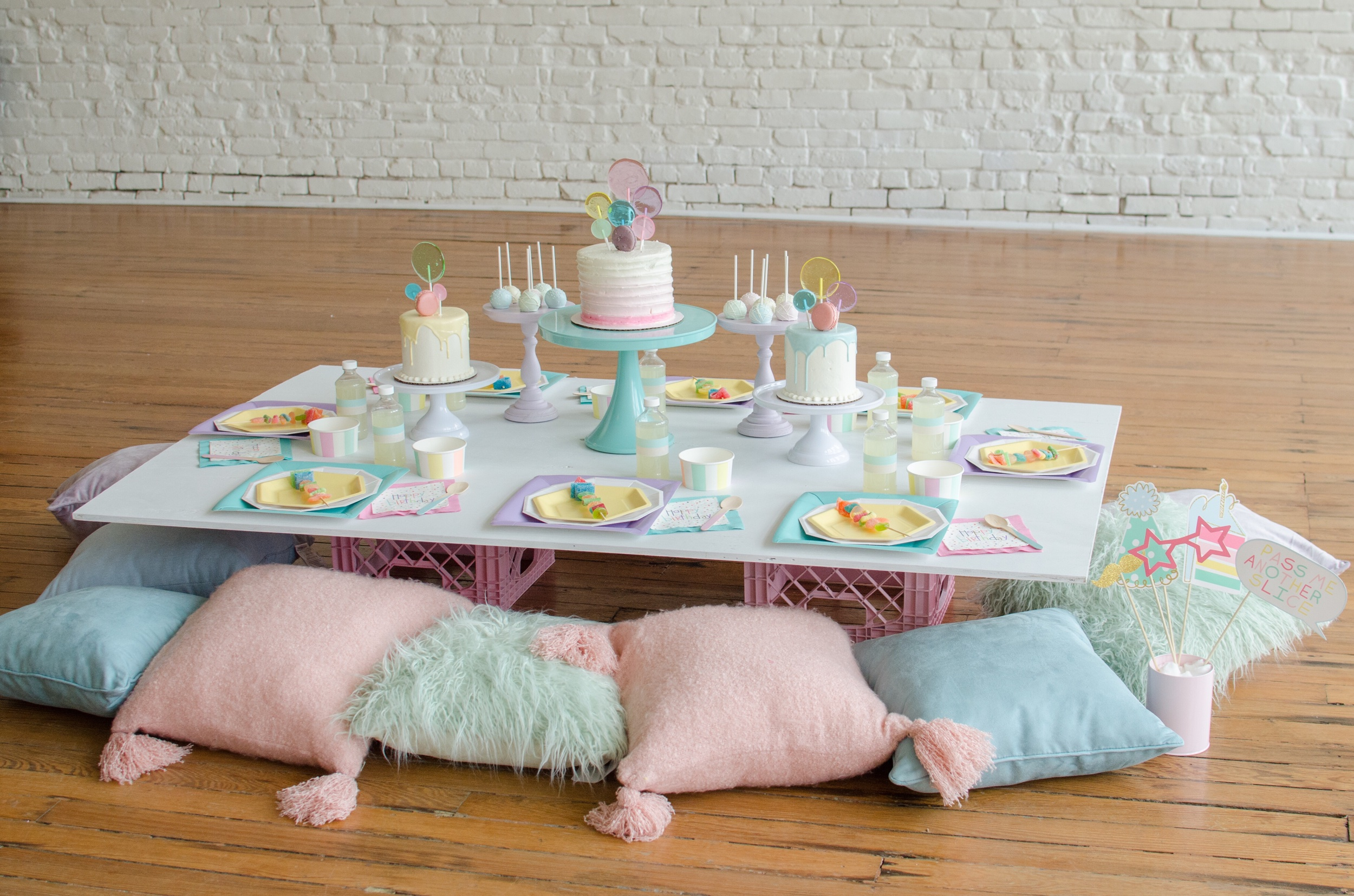 Pastel party color scheme, so cute for little girls!