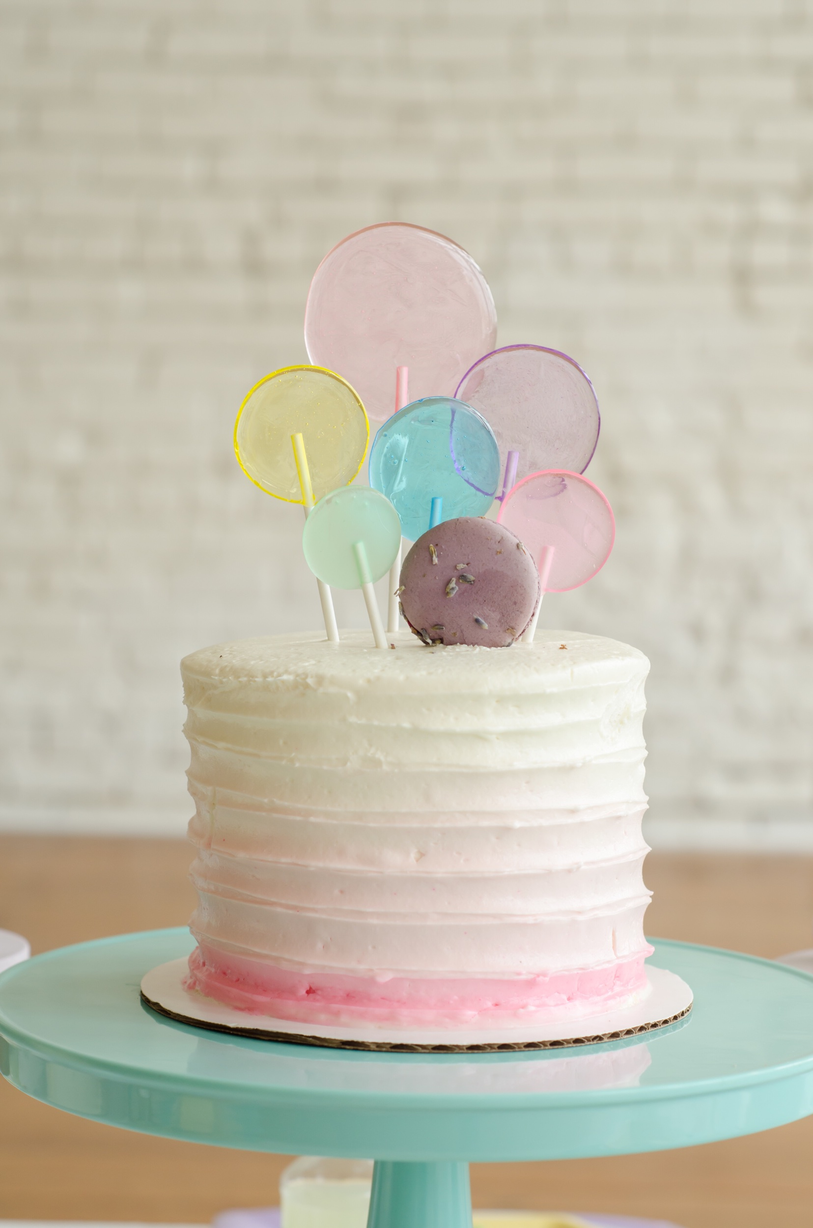 Ombre cake idea at a Bubble themed birthday bash