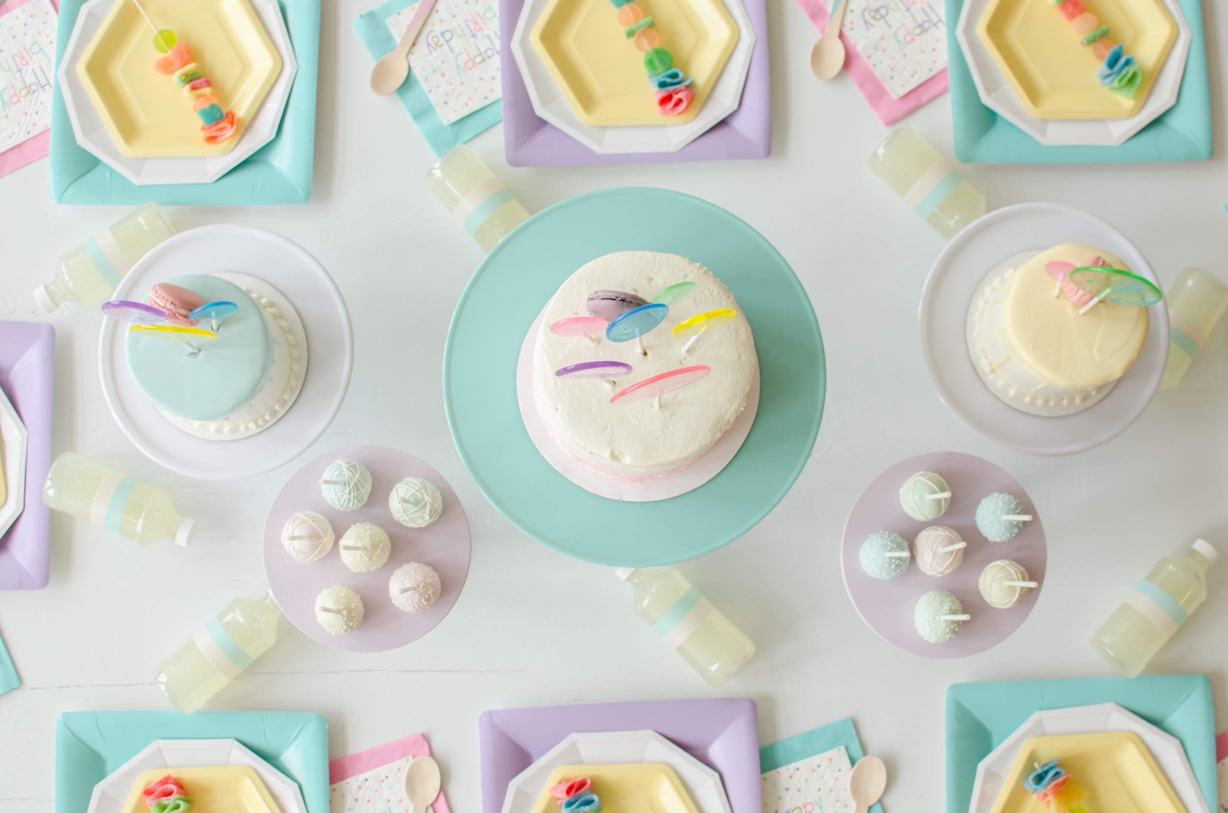 Pastel colored birthday party ideas from Mint Event Design