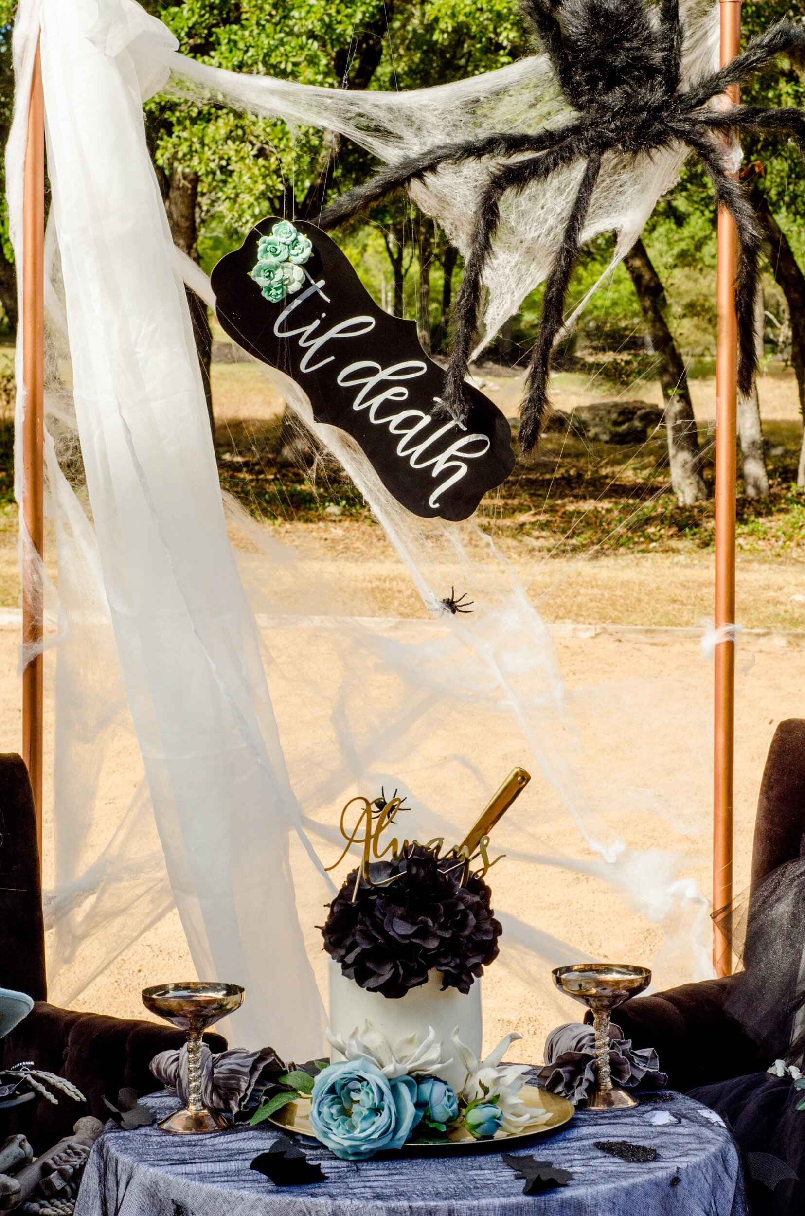 Halloween themed wedding ideas - this photo booth backdrop was created by using copper pipes adorned with spider webs, a giant spider, and a gauzy curtain. As seen on Mint Event Design www.minteventdesign.com