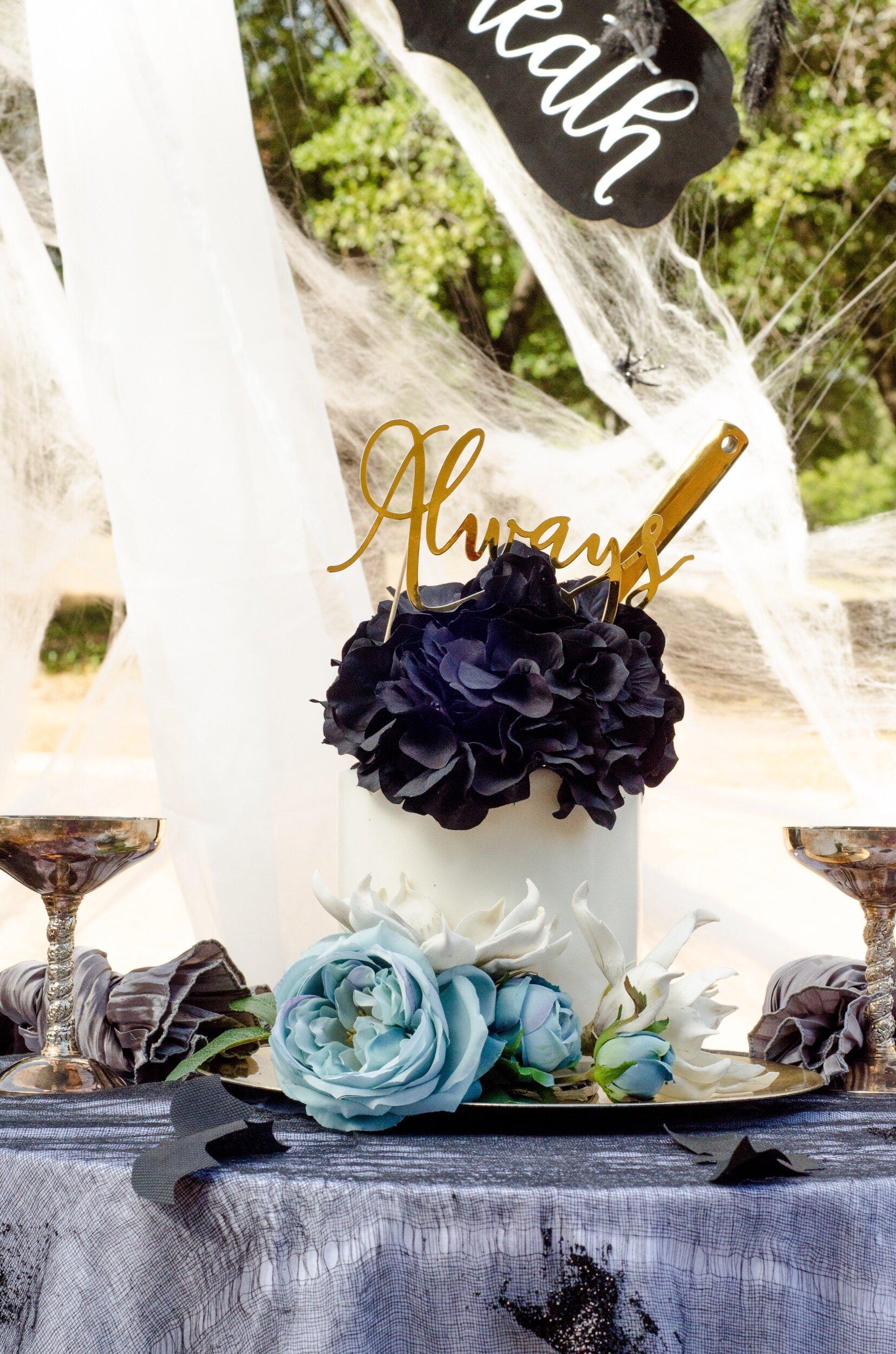 Gothic wedding cake idea for halloween weddings - as seen onMint Event Design