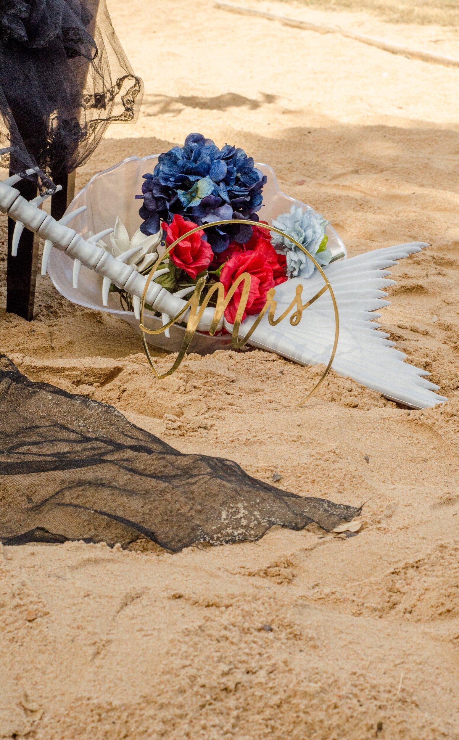 Mermaid skeleton halloween wedding display - as seen on Mint Event Design