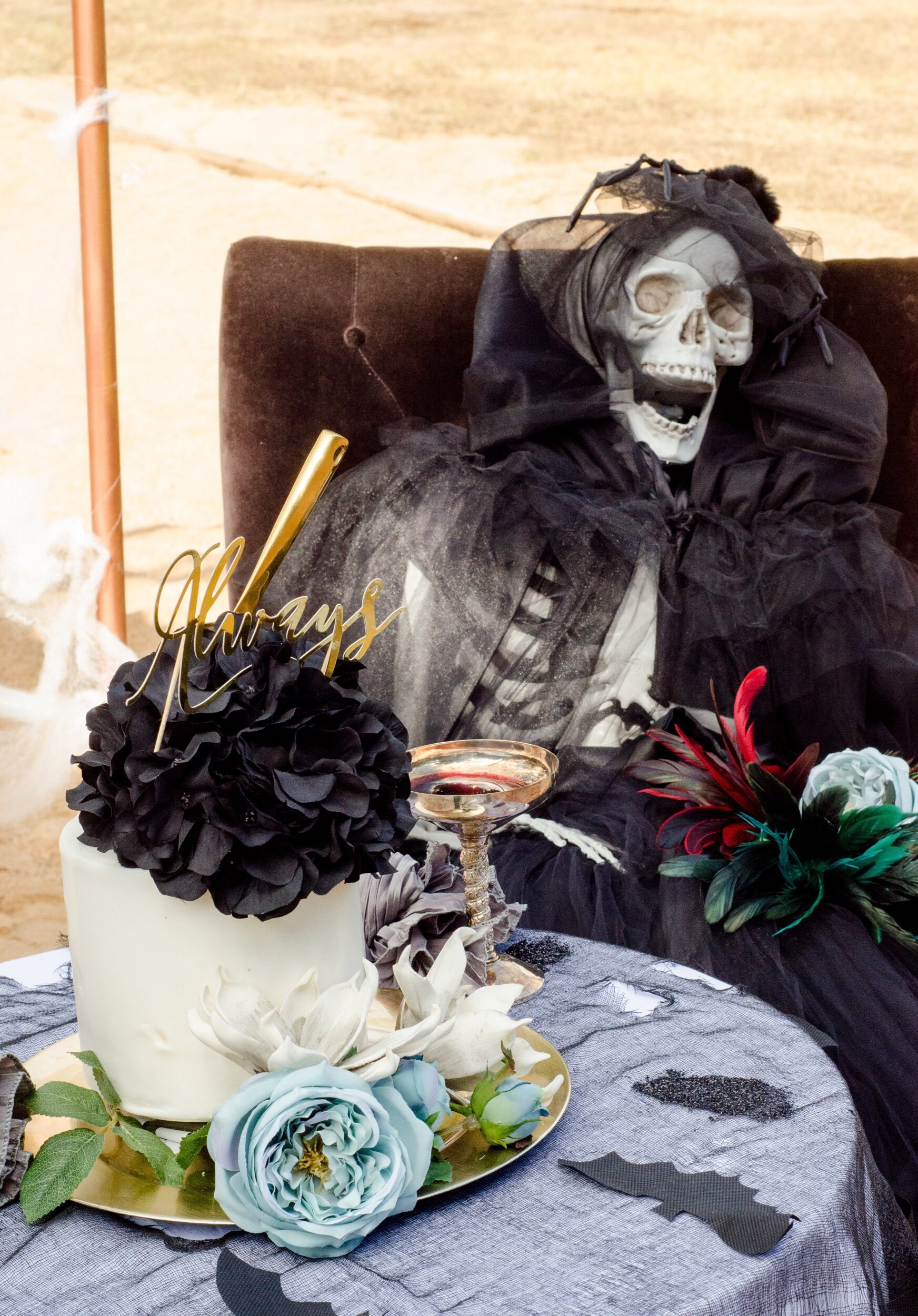Add skeletons for spooky wedding ideas from Austin based party stylist Mint Event Design