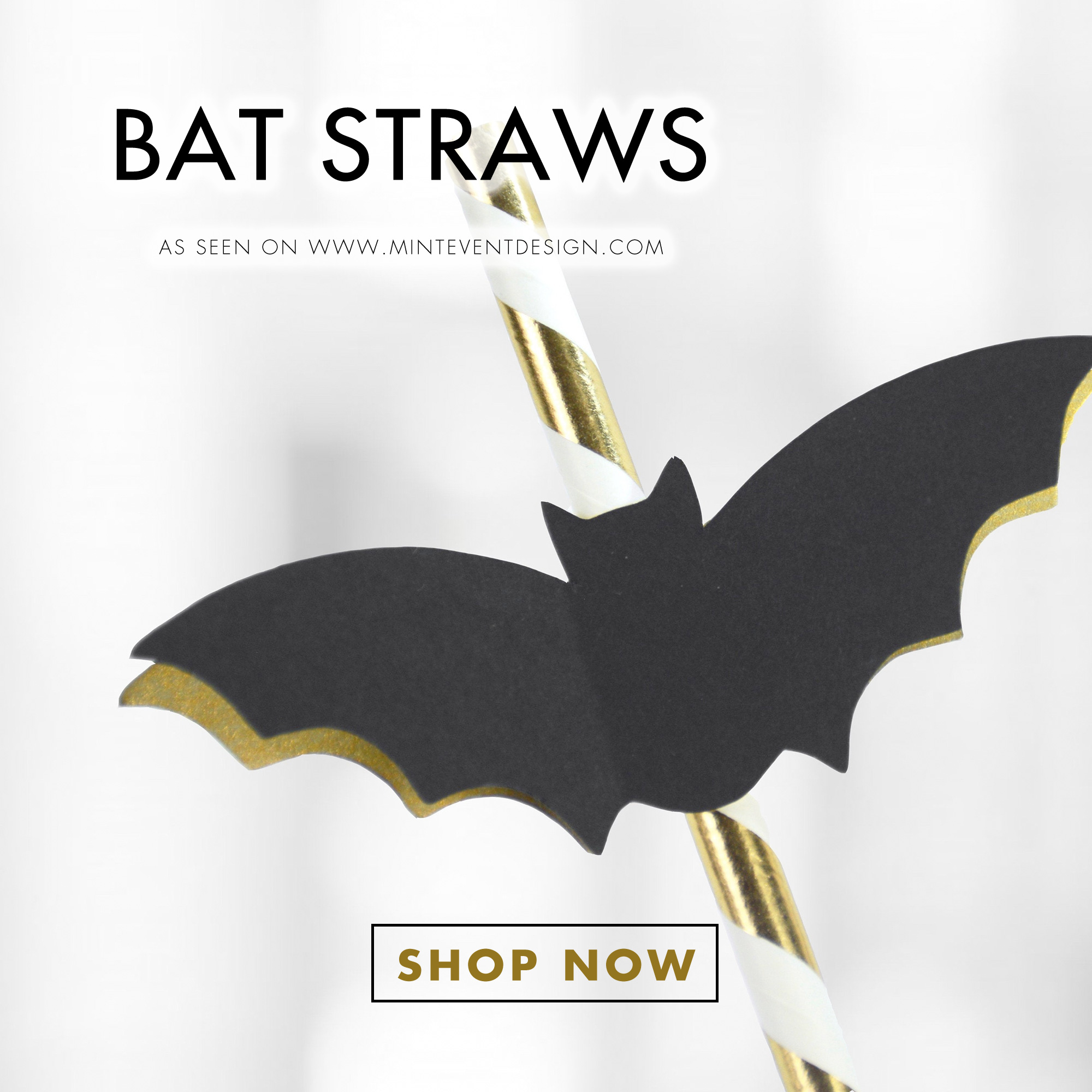 Shop Bat Straws for your Halloween Parties. They're perfect for your Halloween Bar Cart Styling. See all the Halloween Set Up Details on Mint Event Design. www.minteventdesign.com #halloweendecor #halloweenparty #halloweenpartyideas #barcartdecor #paperstraws #bats