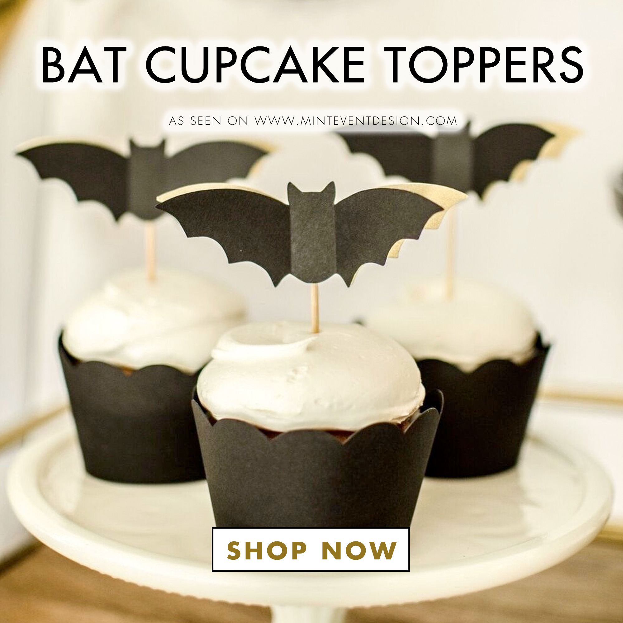 Shop Bat Cupcake Toppers for your Halloween Parties. They're perfect for your Halloween Bar Cart Styling. See all the Halloween Set Up Details on Mint Event Design. www.minteventdesign.com #halloweendecor #halloweenparty #halloweenpartyideas #barcartdecor #cupcaketoppers #bats