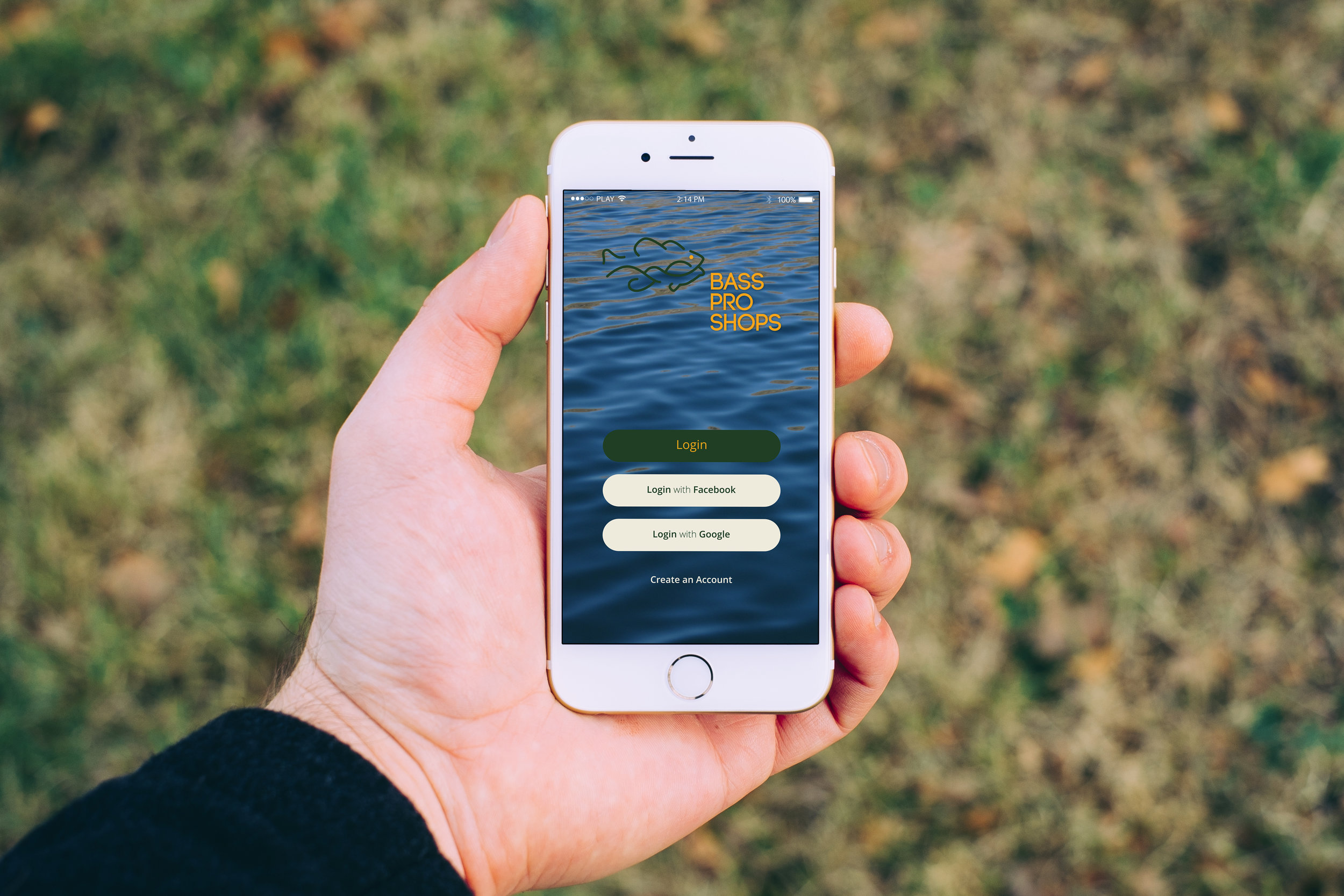 Bass Pro Shop mobile app dedicated to finding fishing spots in the area.