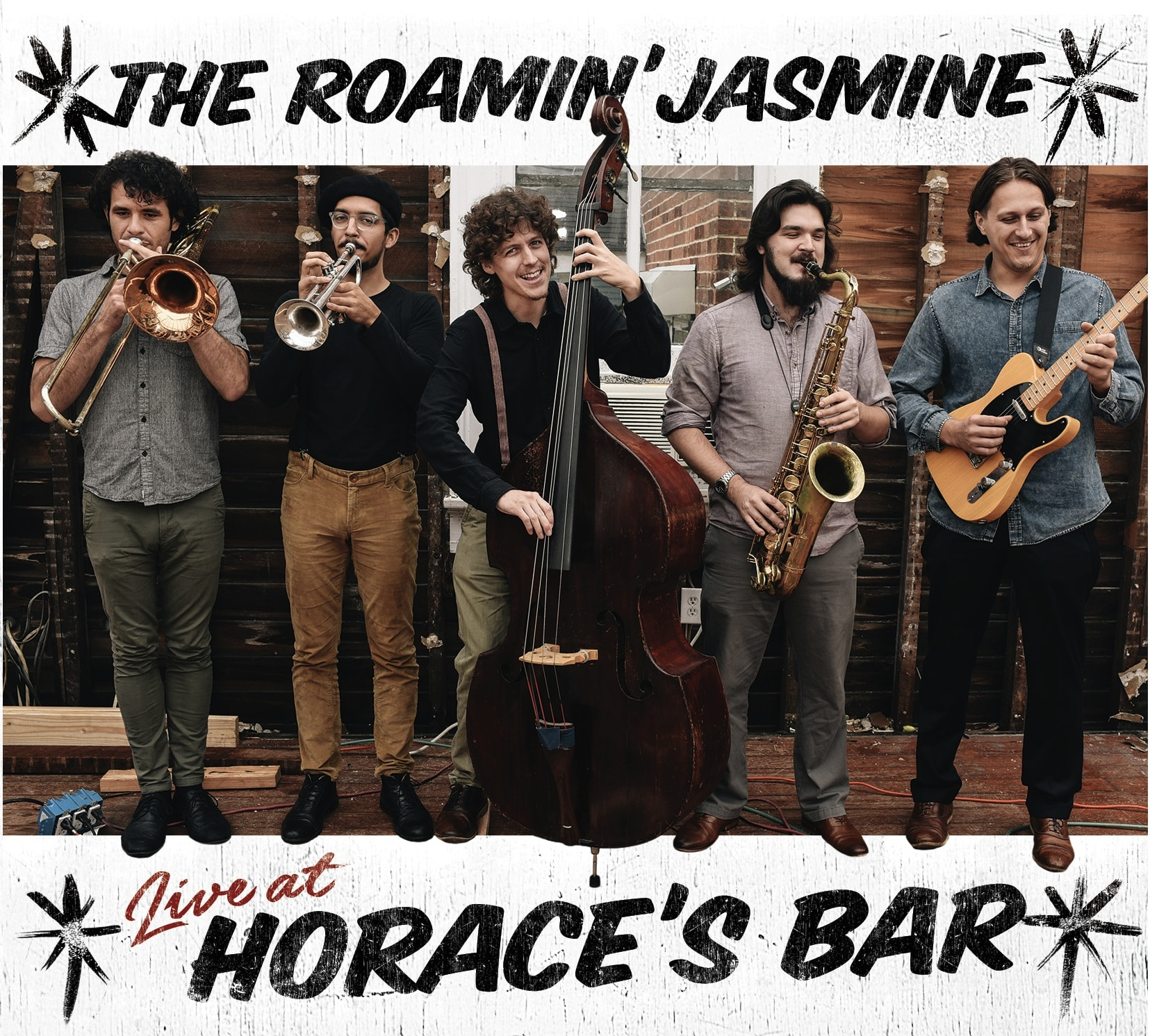 New Album: LIve At Horace's Bar - Milo Records New Orleans is proud to release Live At Horace's Bar, the third studio album by The Roamin' Jasmine, recorded live at a locals-only New Orleans corner bar in Central City, by Grammy-winning, Beusoleil alumus, Al Tharp of CarryOn Productions. Horace's is a frequent stop on uptown Second-Line routes and a stone's throw from the stomping grounds of the Mardi Gras Indians. On the night of the recording, this tiny bar was packed full of old friends and unsuspecting bar patrons-turned new fans from the neighborhood, who unexpectedly happened upon the live show. Between the 6-piece band, microphones, recording equipment, and packed seating, there was just enough room for dancers.