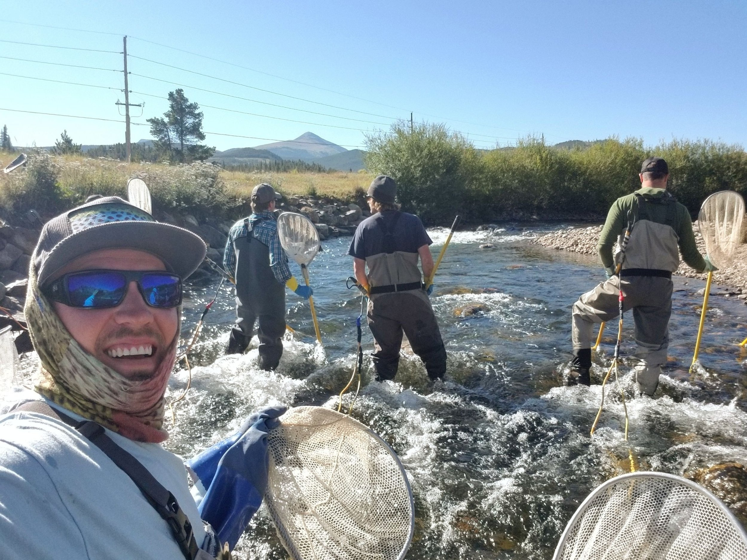 George helping the Colorado Parks and Wildlife and local agencies electro-shock and study fish on the Blue River downstream from Lake Dillon.