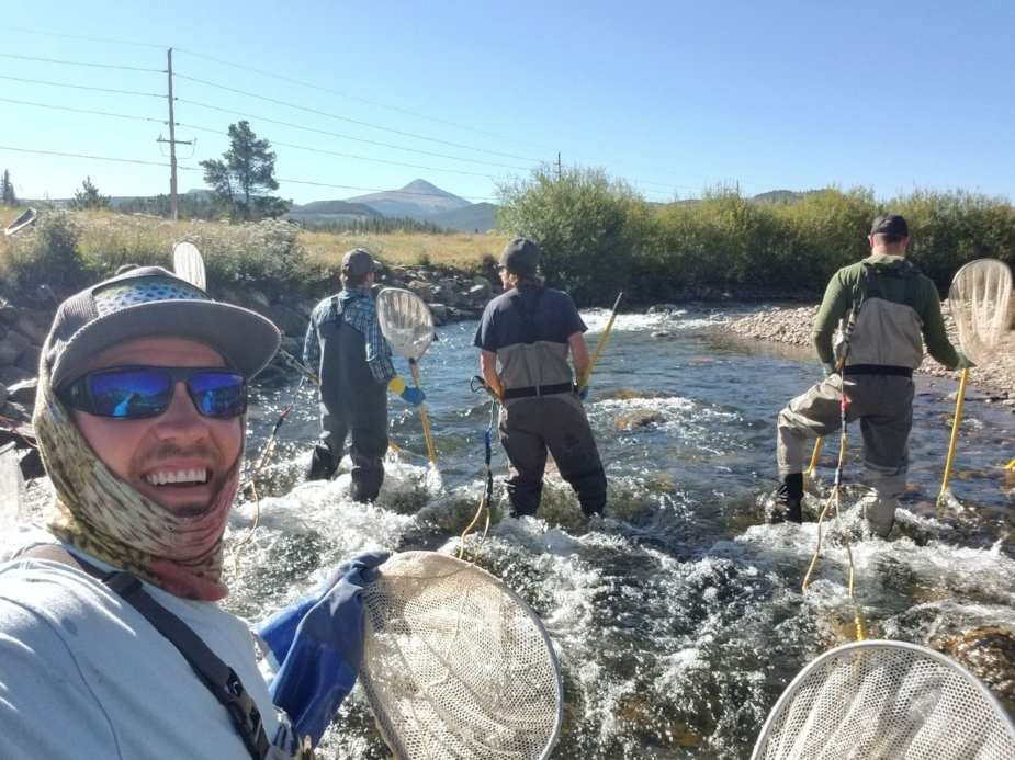 Helping the Colorado Parks and Wildlife and local agencies electro-shock and study fish on the Blue River downstream from Lake Dillon.