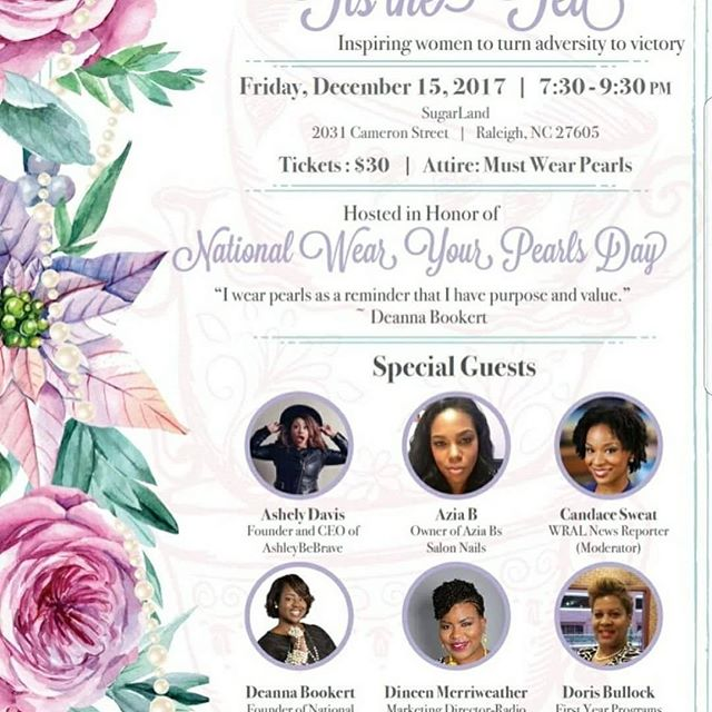"""Excited to attend this inspiring dinner! With some amazing speakers """"Turning adversity to Victory"""" Tis the Tea Tonight #igotmypearls"""