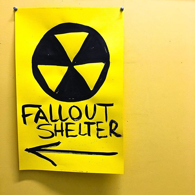 ATTENTION! IN case of artistic emergency, the Dow Building has a fallout shelter. It is located in studio 202 with artists @tjmcewen and Kelley Meister.  Check them out during Do The Dow this weekend💪🏻👆🏻🤘🏻✌🏻🤞🏻🤜🏻👍🏻🙌🏻