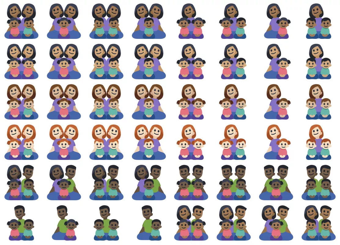 Facebook's family emojis forgets to consider interracial families ( Source )