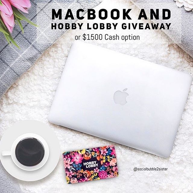 💚MACBOOK and Hobby Lobby gift card or $1500 CASH option, Open Worldwide • • Quick and easy to Enter. Takes 30 seconds!  How to ENTER: 💫1. LIKE THIS POST Tell me in comments if you'd choose the prizes or cash? . . 💫2. Go to @socialbubble2sister and FOLLOW everyone they follow. . . 💫💫 For additional entries,see the simple directions on the @socialbubble2sister post. . . That's it!!💫 •