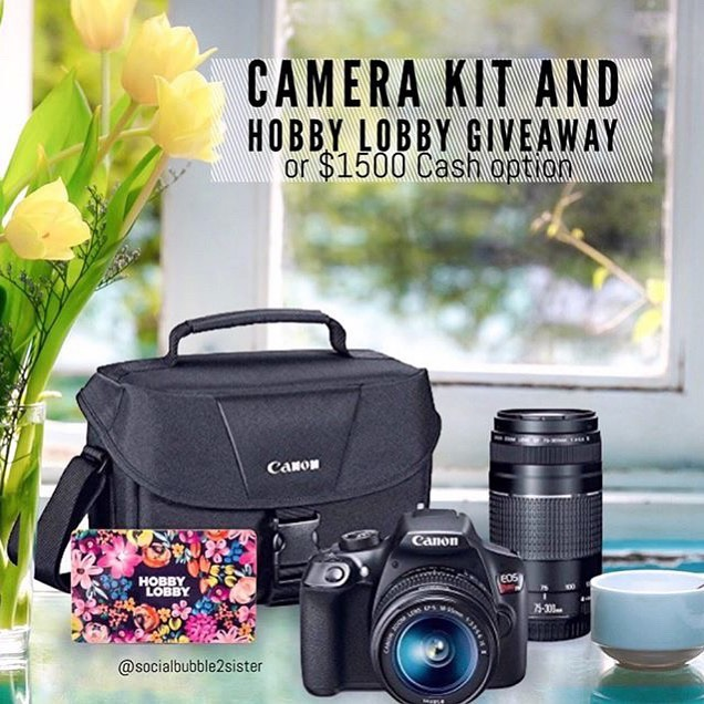 🌿 Camera kit and Hobby Lobby giveaway or $1500 CASH Option  OPEN WORLDWIDE • • Quick and easy to Enter. Takes 30 seconds!  How to ENTER: 🌿1. LIKE THIS POST Tell me in comments if you'd choose the gift or cash? . . 🌿2. Go to @socialbubble2sister and FOLLOW everyone they follow. . . 🌿🌿For additional entries,see the simple directions on the @socialbubble2sister post. . . That's it!!🌿 • This is in no way sponsored, or associated with Instagram Inc, or any of the brands. By entering, entrants release Instagram and all brands of all responsibility, and agree to Instagram's terms of use. Contest ends on July 14th. Winner will be announced 24 hours after giveaway ends. In our stories🌿