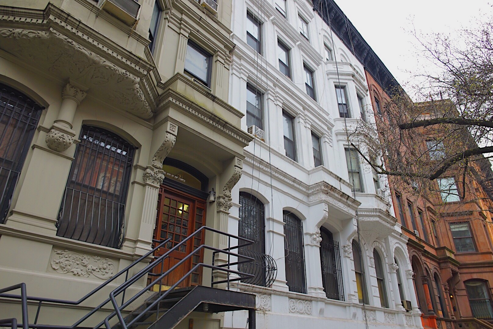 A row of brownstones on 69th Street in Manhattan.  April 8, 2019