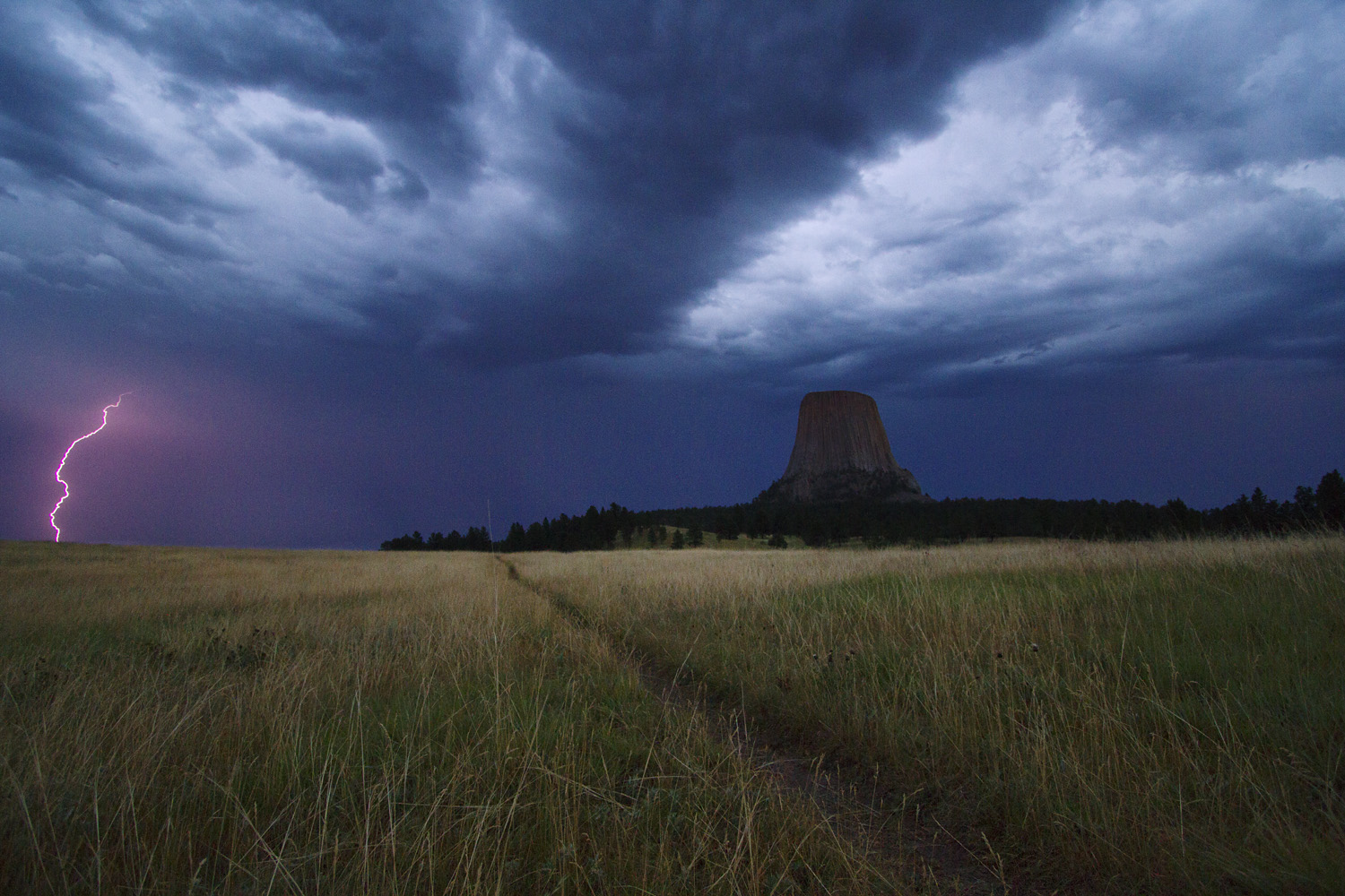 Lightning Strike near Mato Tipila (Devils Tower)