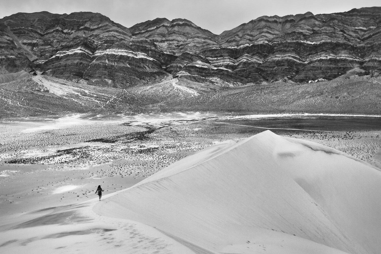 Hiker on Eureka Dunes
