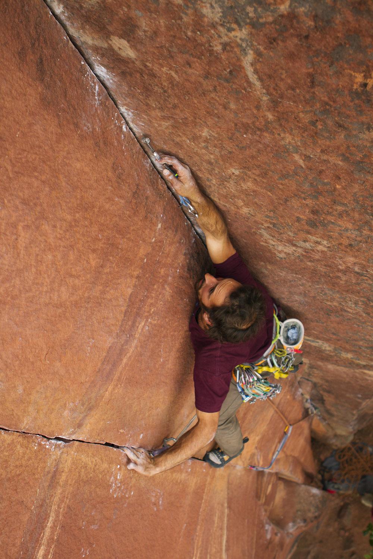Climber on beginning of Akhum-Rah