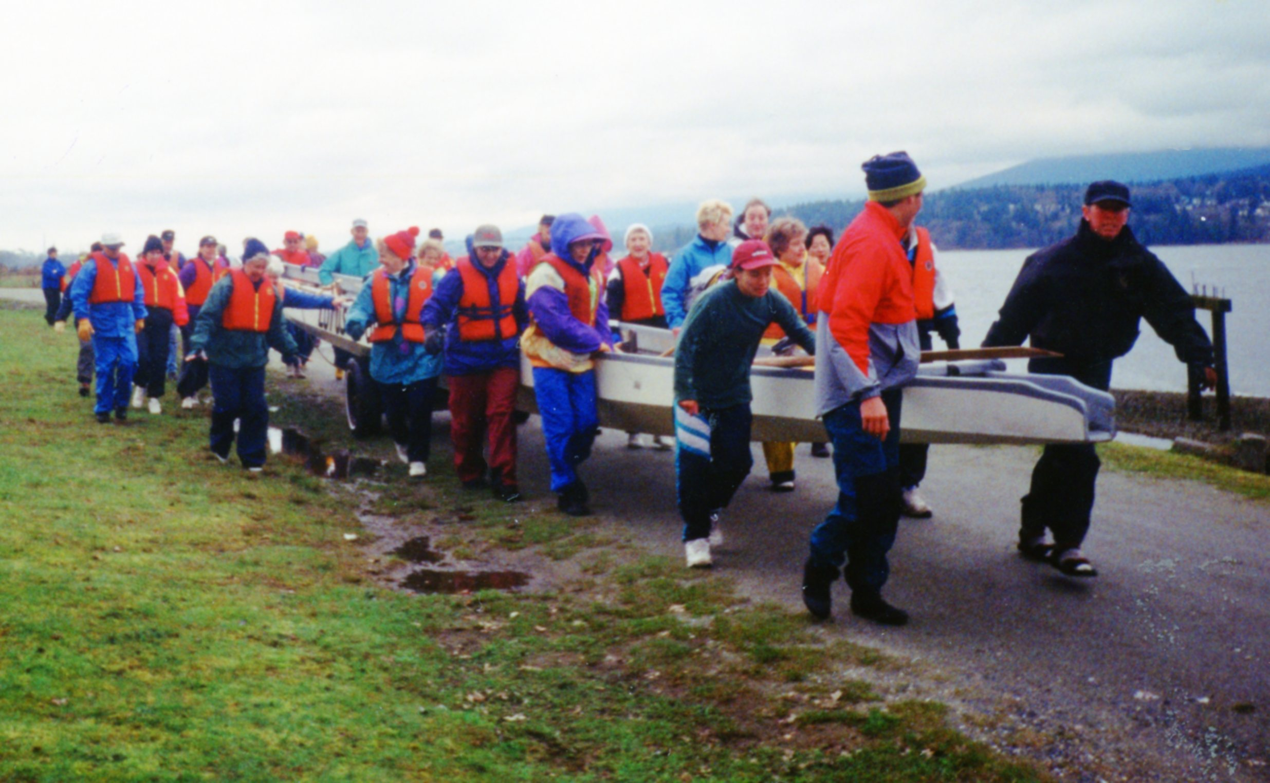 Lotus boats were rented and hauled down to Barnet Beach (Burrard Inlet) for training.
