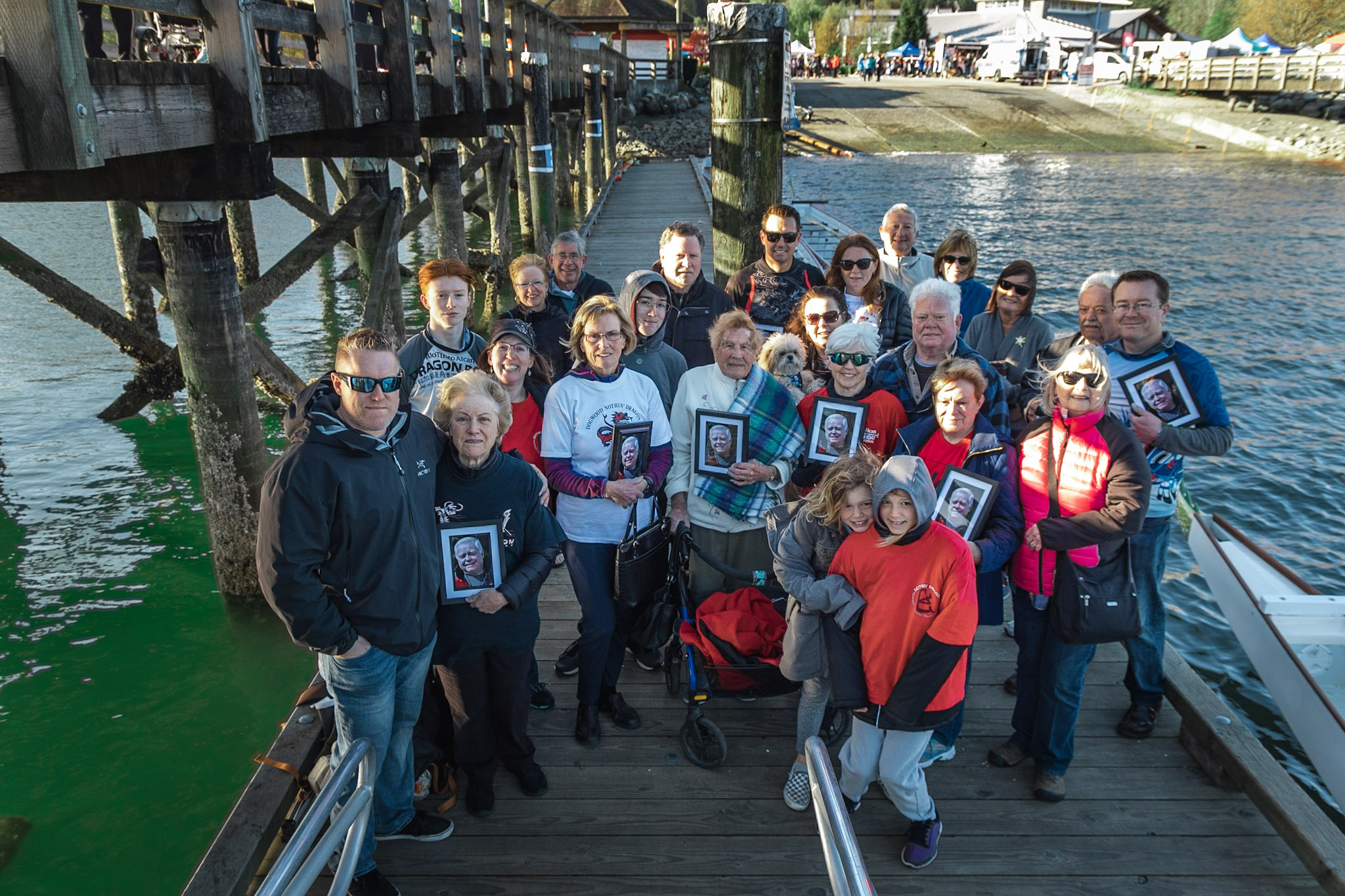 The family of the late Daniel Strain during his dedication at the Inlet Spring Regatta on April 27. He will be inducted into the Coquitlam Sports Hall of Fame on June 20. (Photo: Joep Olthuis /Inlet Spring Regatta)
