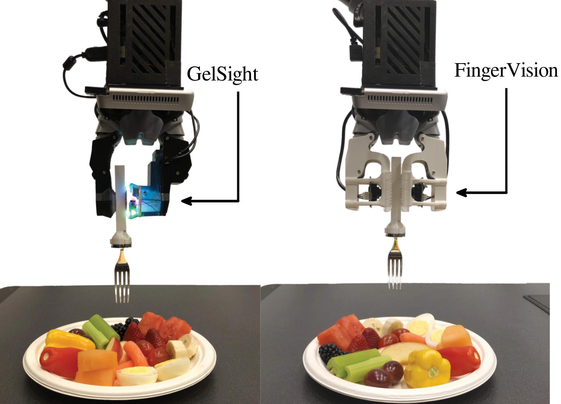 GelSight (left) and FingerVision (right) sensors on Kinova 2-finger gripper holding a non-instrumented fork