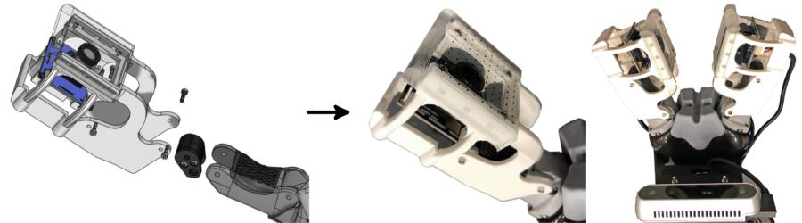 Design and the integration of the FingerVision sensors on the Kinova 2-finger gripper