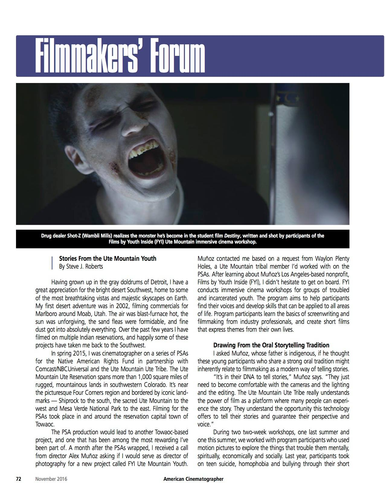 American Cinematographer Magazine, November 2016 Edition