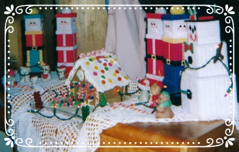 Home made Christmas decorations and gingerbread house
