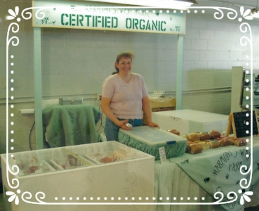 Our booth at the new Farmer's Market location downtown