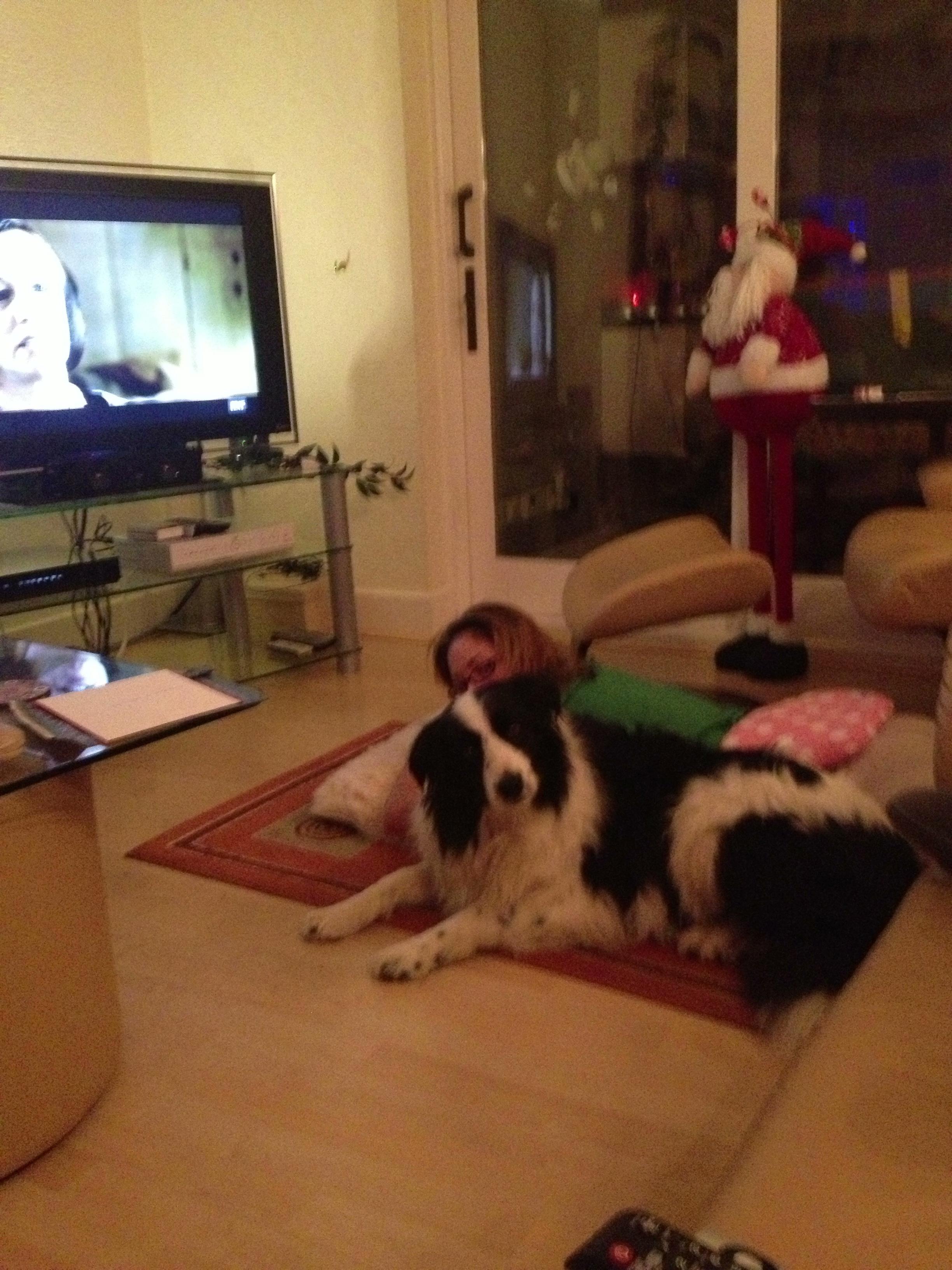 Tiga and I watching Tv