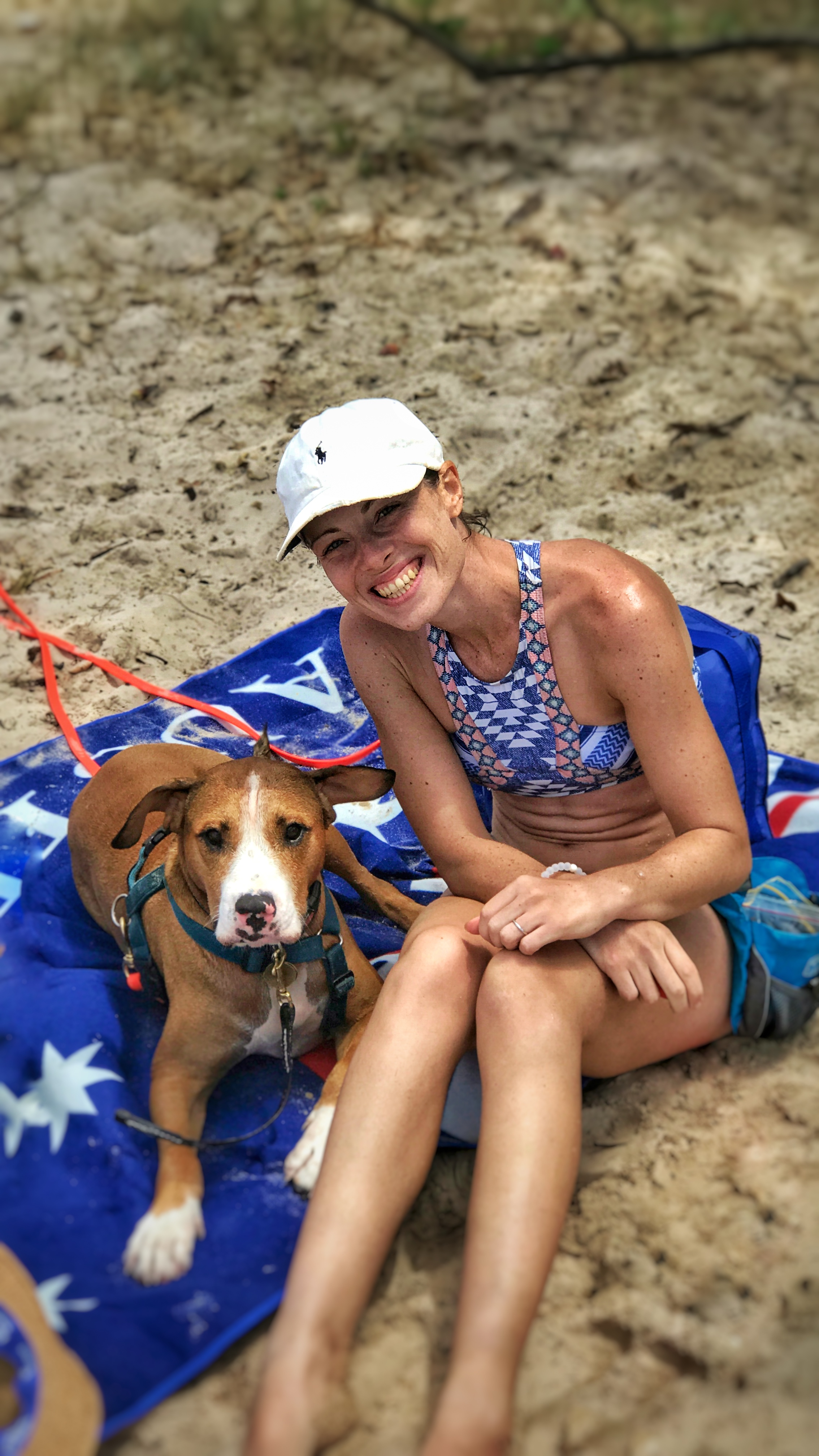 Me and Amos just relaxing at Red Beach, Bribie Island, Brisbane