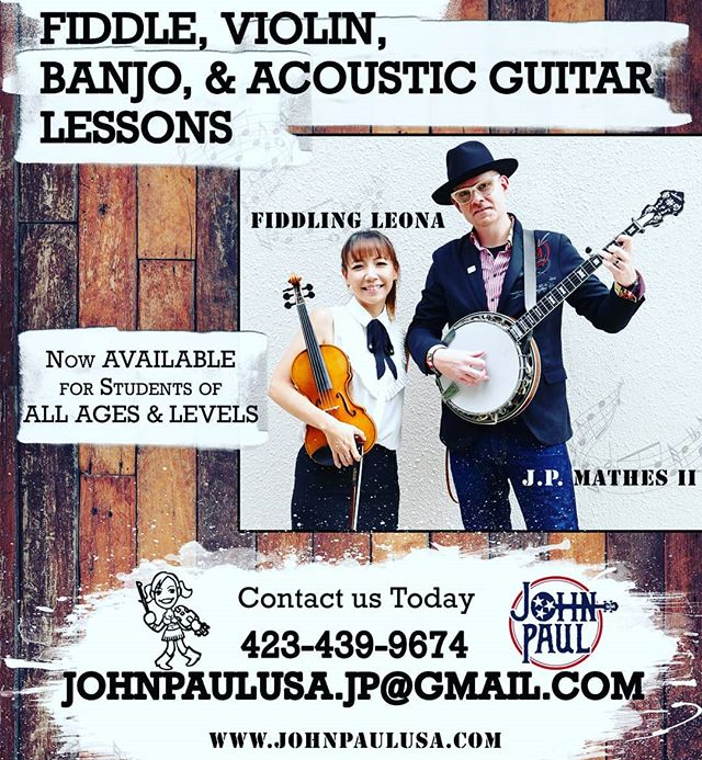 Are you interested in learning musical instruments? Contact us today at (423)439-9674 or  johnpaulusa.jp@gmail.com 🎶 #violin #fiddle #guitar #banjo #musiclesson #jpmathes #fiddlingleona #johnpaulusa
