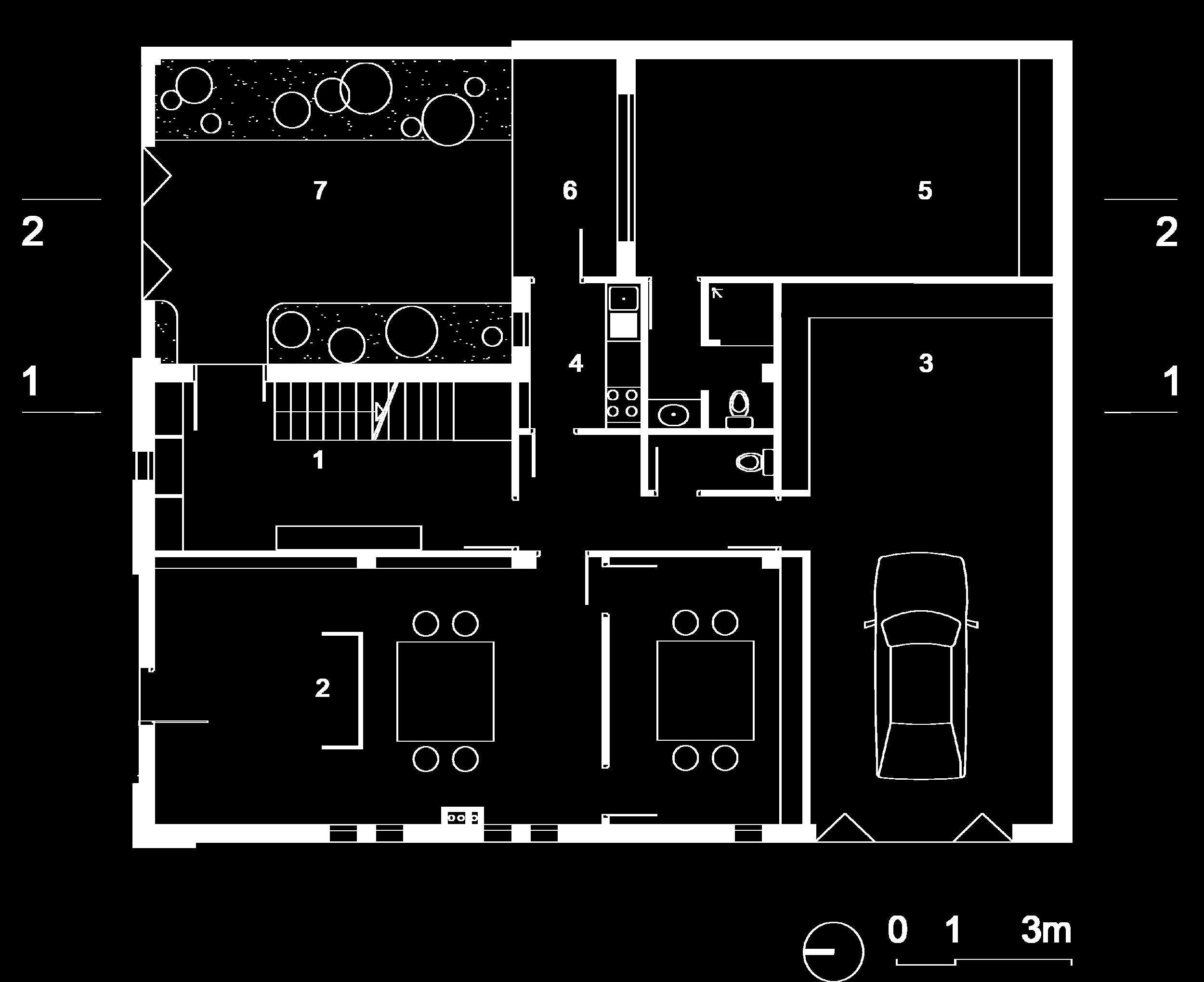 Plan rez-de-chaussé :  1- entrée, 2- Bureau, 3-garage, 4-Kitchenette, 5-Suite invité, 6-Terrasse couverte, 7- Patio jardin.