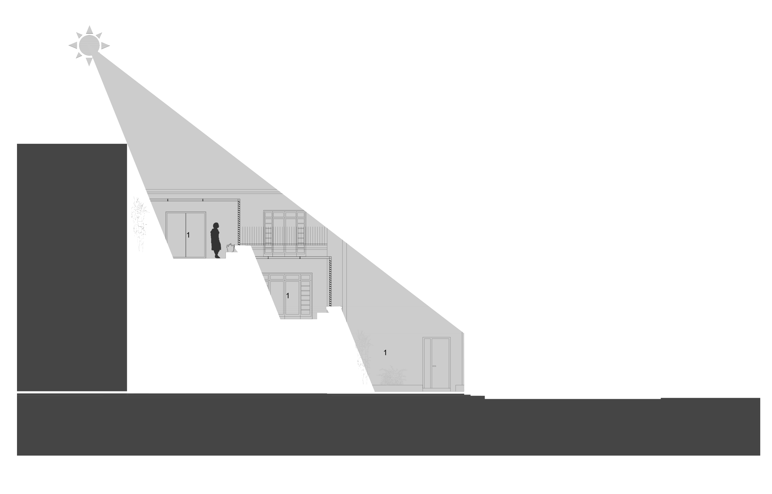 Section 2-2 :  1- Patio jardin, 2- Suite invité, 3-Salon.