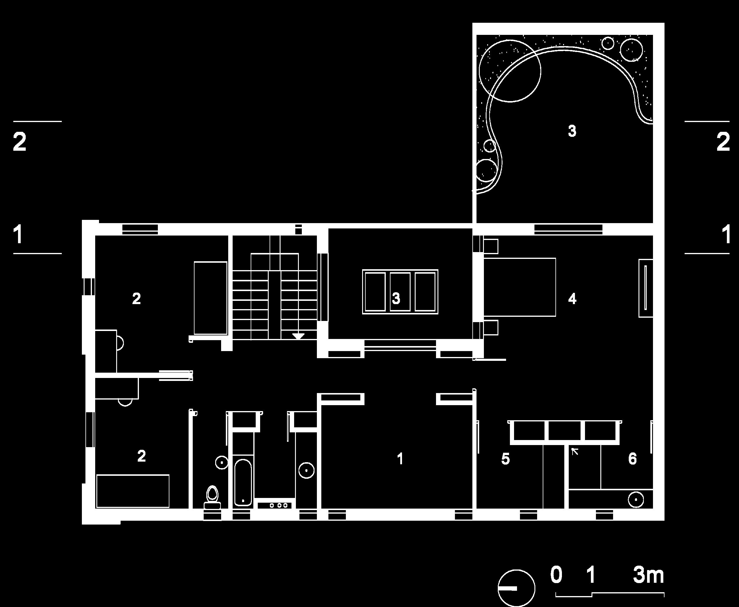 Plan du deuxième :  1- Séjour d'étage, 2- Chambre, 3- Patio jardin, 4- Suite parentale, 5- Dressing, 6- Salle d'eau.