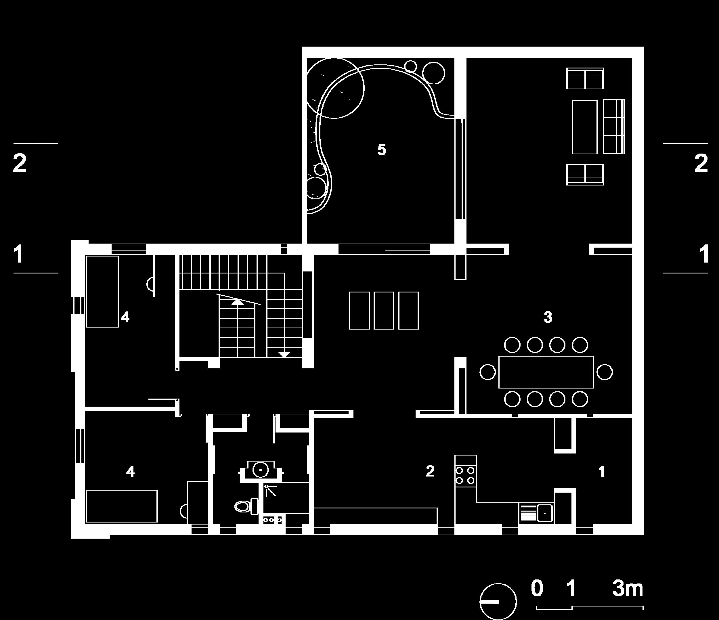 Plan du premier étage :  1- Cellier, 2-Cuisine, 3-salon, 4-Chambre, 5-Patio jardin.