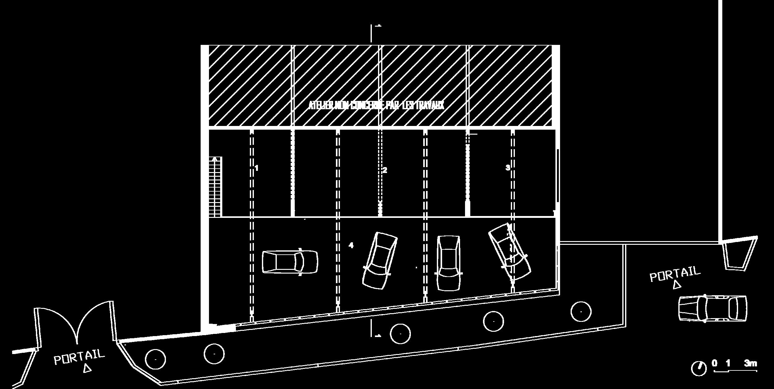 Plan de la mezzanine :  1- Salle d'attente, 2- Bureaux en open space, 3- Bureau direction, 4- Vide sur rez-de-chaussée.