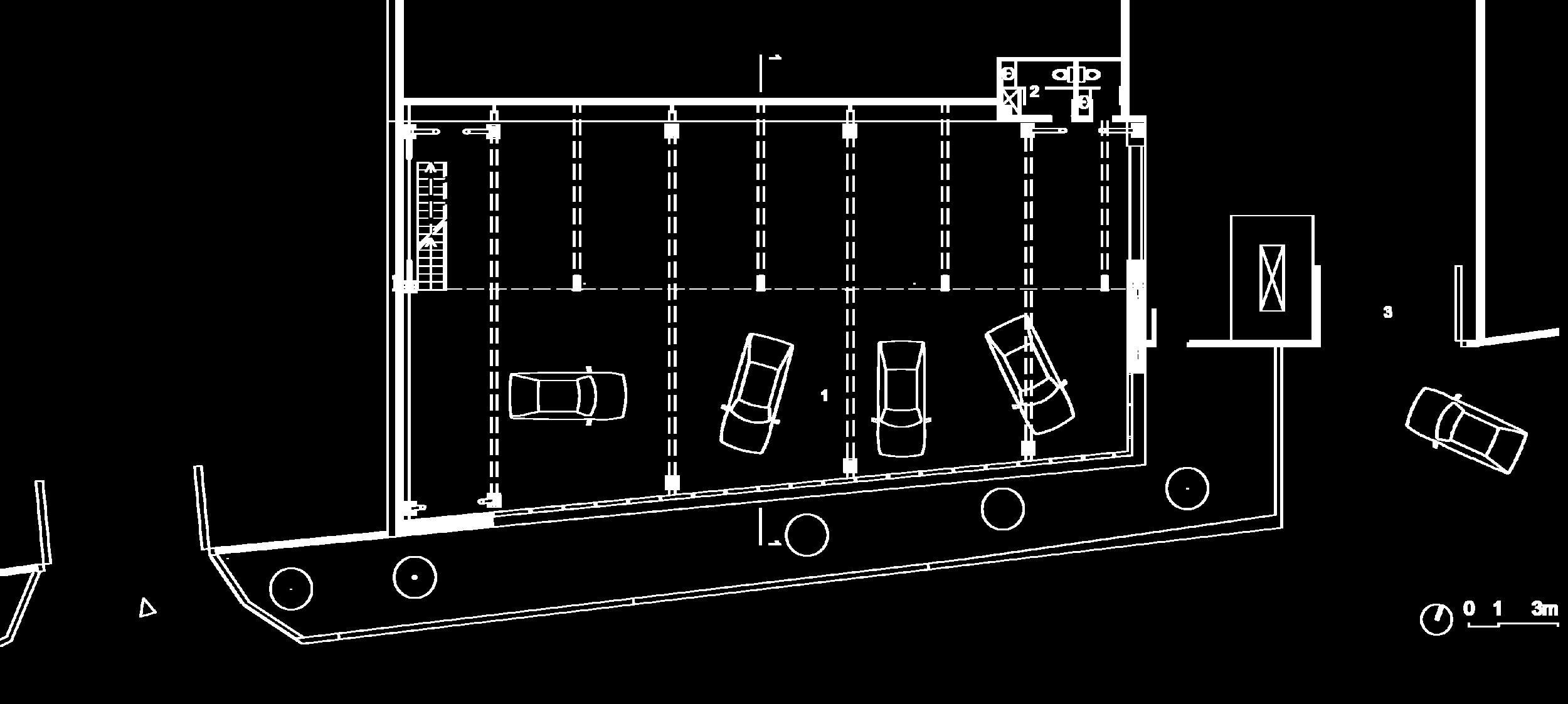 Plan du rez-de-chaussée :  1- Showroom, 2- Sanitaire, 3- Entrée
