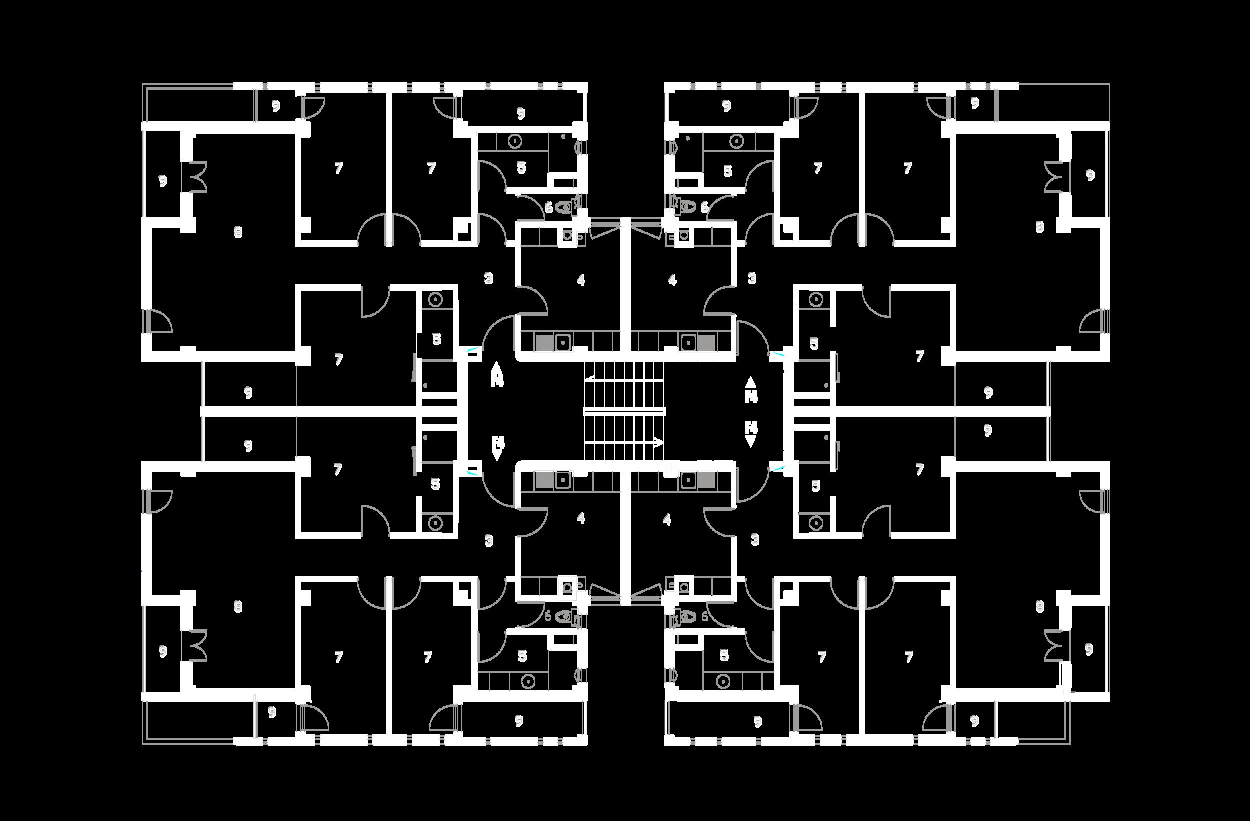 Plan étage courant bâtiment A :  3- Hall et dégagement, 4- Cuisine, 5- Salle de bain, 6- WC, 7- Chambre, 8- Salon, 9- Loggia.