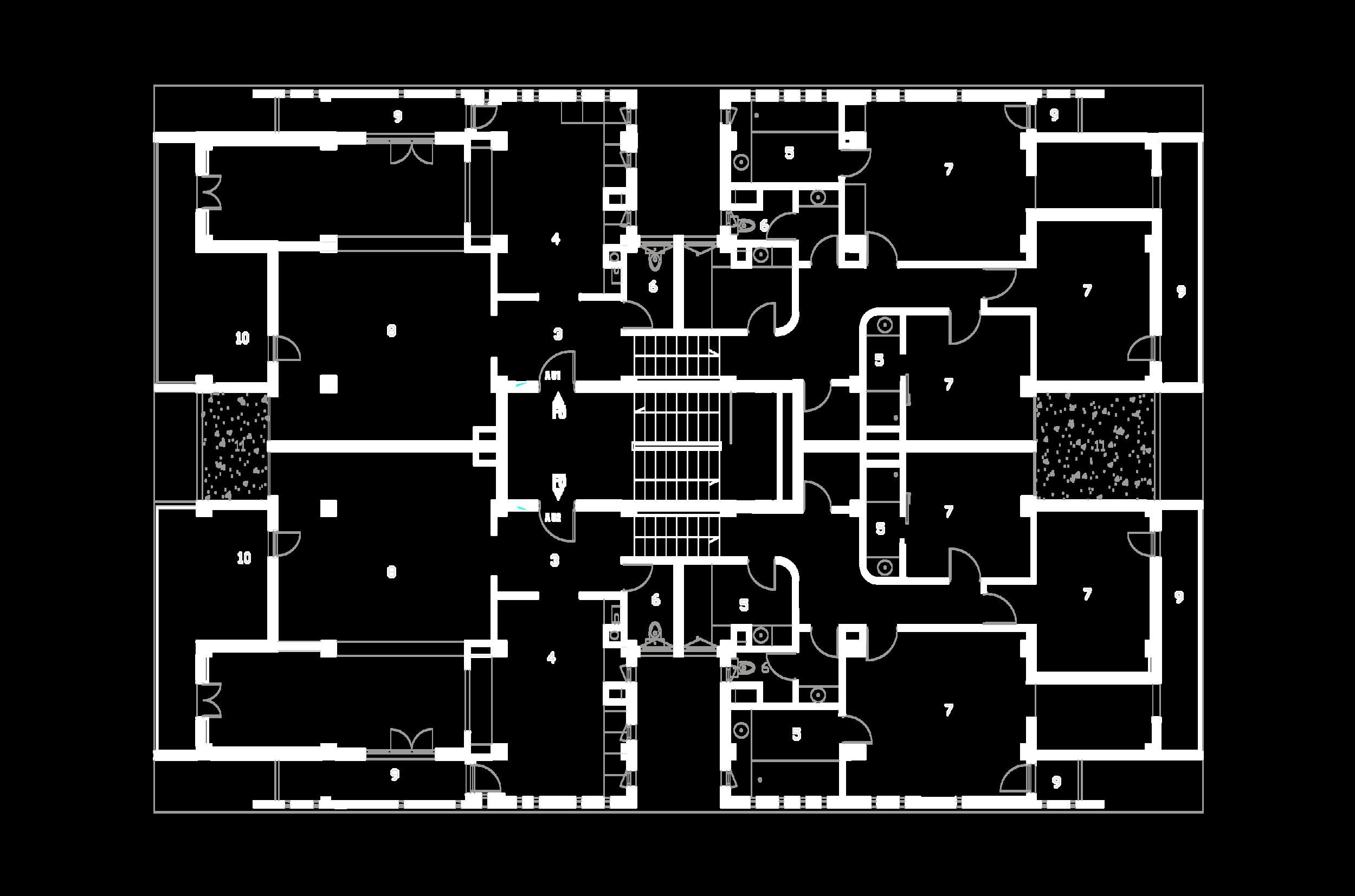 Plan attique bâtiment A :  3- Hall et dégagement, 4- Cuisine, 5- Salle de bain, 6- WC, 7- Chambre, 8- Salon, 9- Loggia, 10- Terrasse, 11- Terrasse inaccessible.