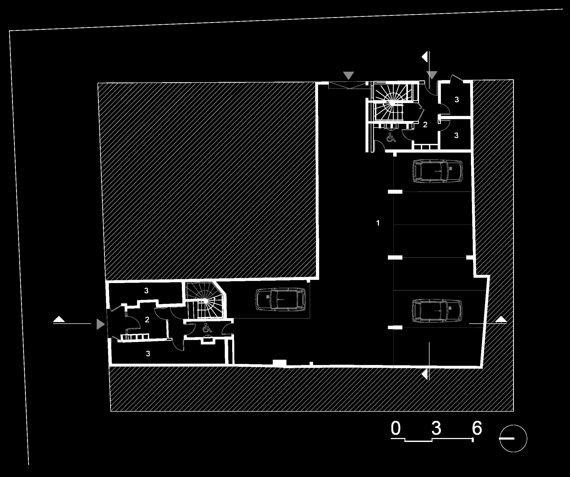 Plan du sous sol :  1- Parking sous sol, 2- Hall, 3- Local poubelle.