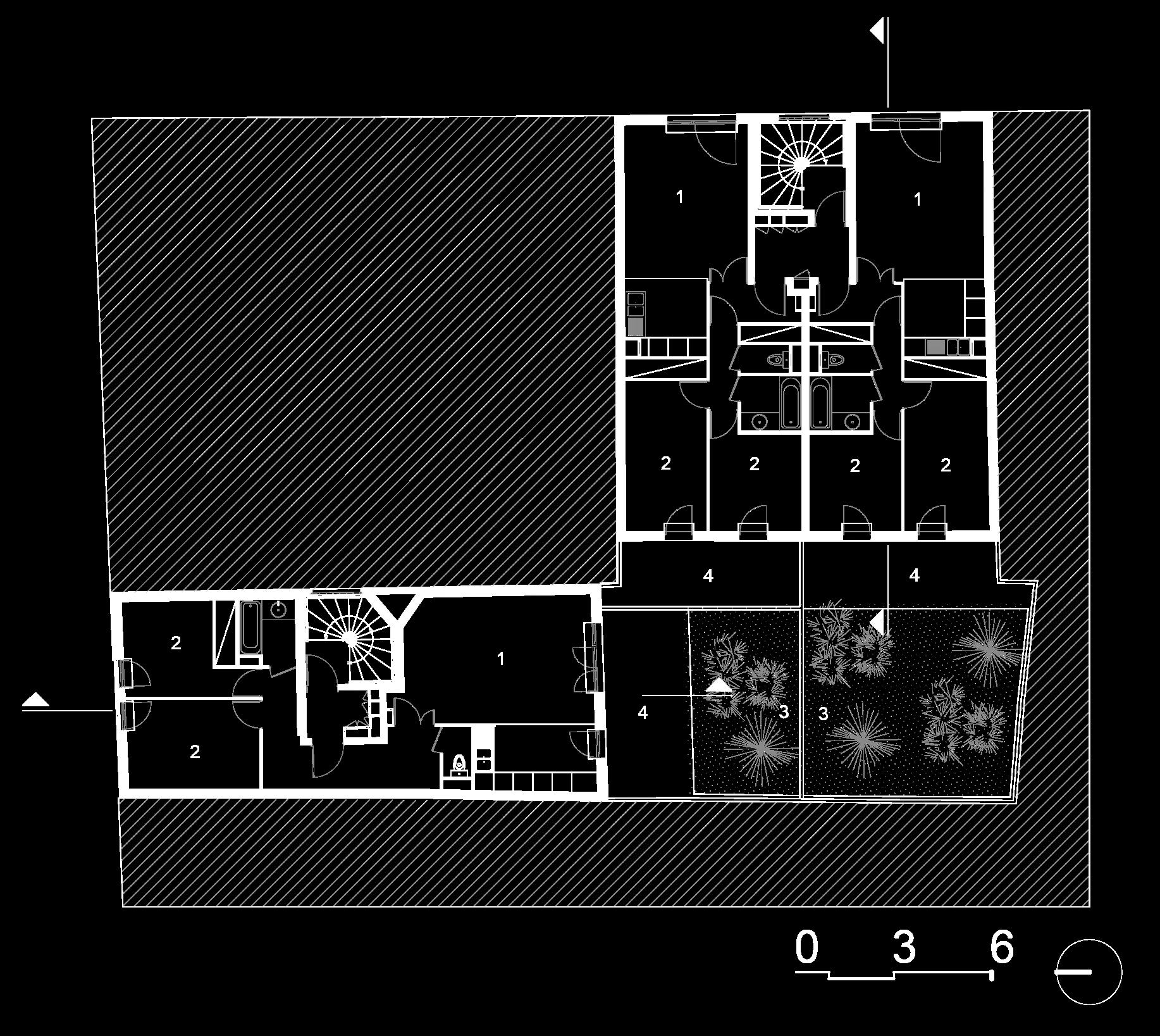 Plan rez-de-chaussée :  1- Séjours, 2- Chambres, 3- Jardins, 4- Terrasse.